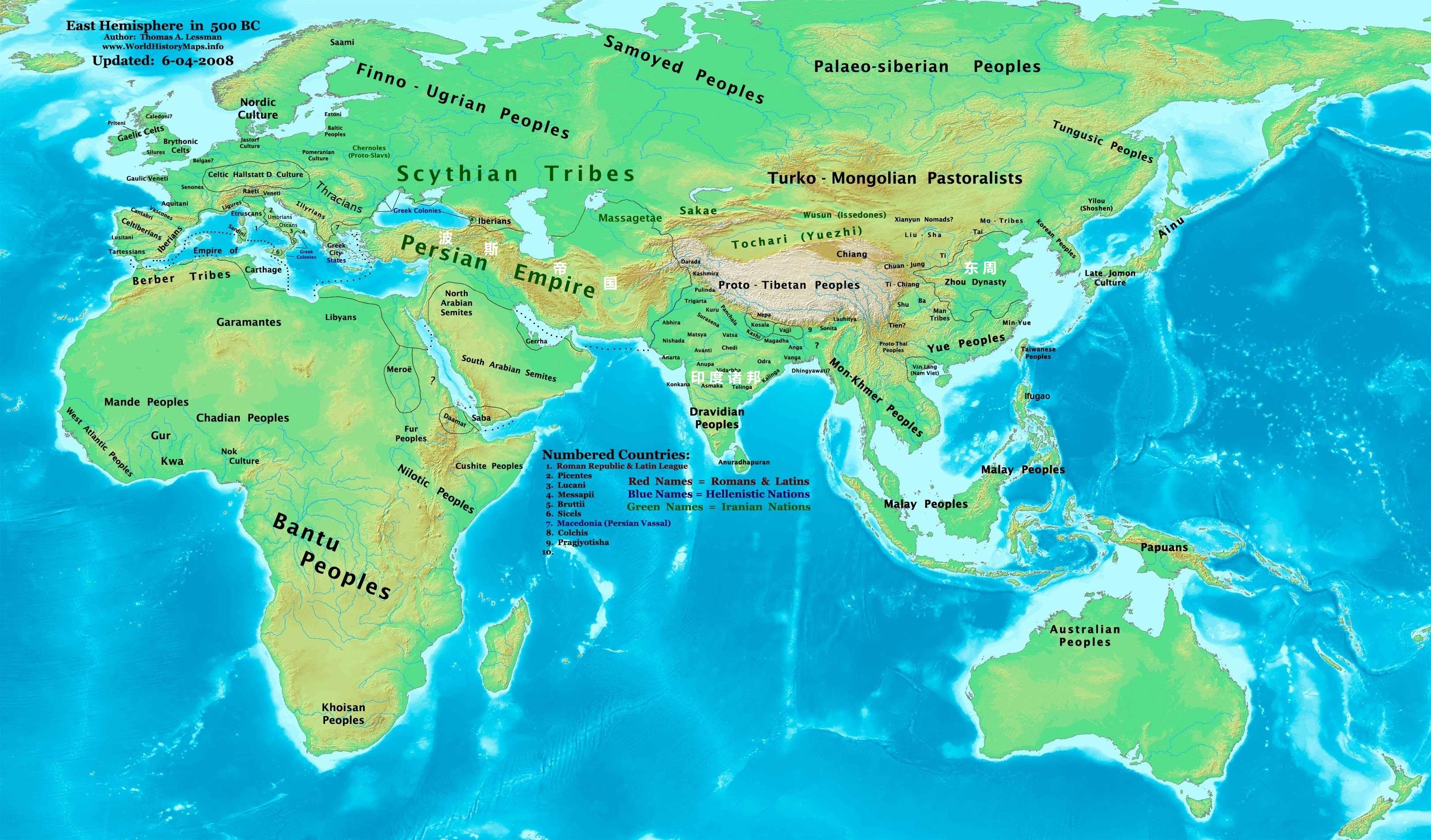 上图:玛拉基时代东半球的主要国家和民族。波斯阿契美尼德帝国是当时全世界最大的统一国家,而中国、印度、希腊、罗马都是分散的小国或城邦。