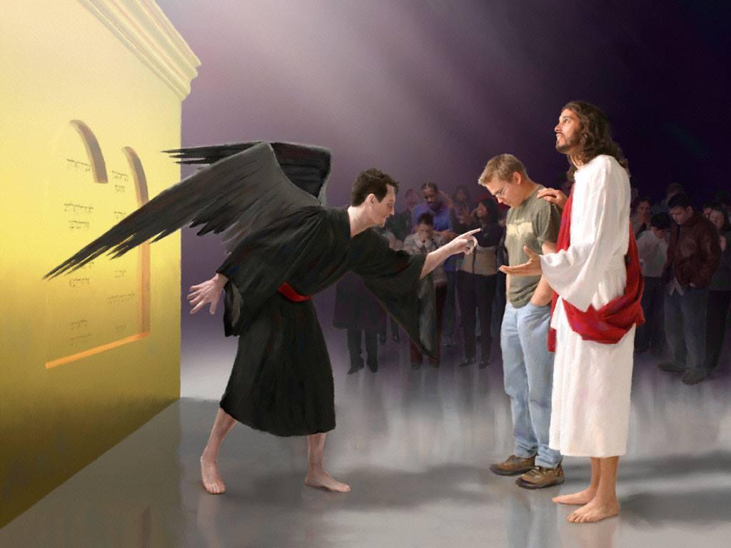 上图:「愿祢派一个恶人辖制他,派一个对头站在他右边」(诗篇109:6)!在以色列的法庭上,控告者站在被告的右边,每个人在神面前都会昼夜面临撒但的控告(启示录12:10),「因为世人都犯了罪,亏缺了神的荣耀」(罗马书3:23)。但信徒既有主耶稣作中保,就不必再惧怕,「谁能控告神所拣选的人呢?有神称他们为义了」(罗马书8:33)。
