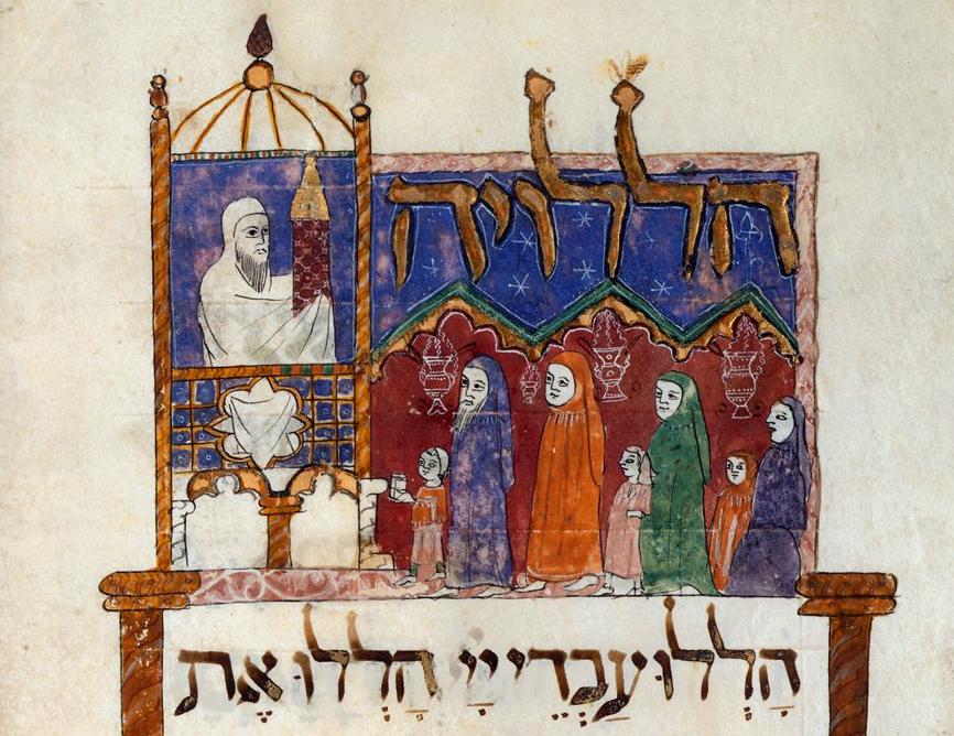 上图:1340年巴塞罗那哈加达(Haggadah)羊皮卷中的诗篇113篇插图中,描绘犹太会堂唱颂「哈利路诗篇」的情景。