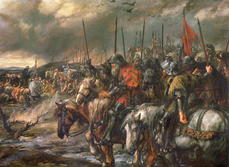 上图:19世纪的油画《阿金库尔战役的早晨 Morning of the Battle of Agincourt》。1415年的阿金库尔战役是英法百年战争中著名的以少胜多之役。16世纪霍林斯赫德(Raphael Holinshed)的《英格兰、苏格兰和爱尔兰编年史》记载,英王亨利五世大败法军之后,全军奉命齐唱诗篇一百一十四、一百一十五篇。当唱到「耶和华啊,荣耀不要归与我们 Non nobis, Domine」时,全军一起下跪。莎士比亚在《亨利五世》一剧中也表现了此事。