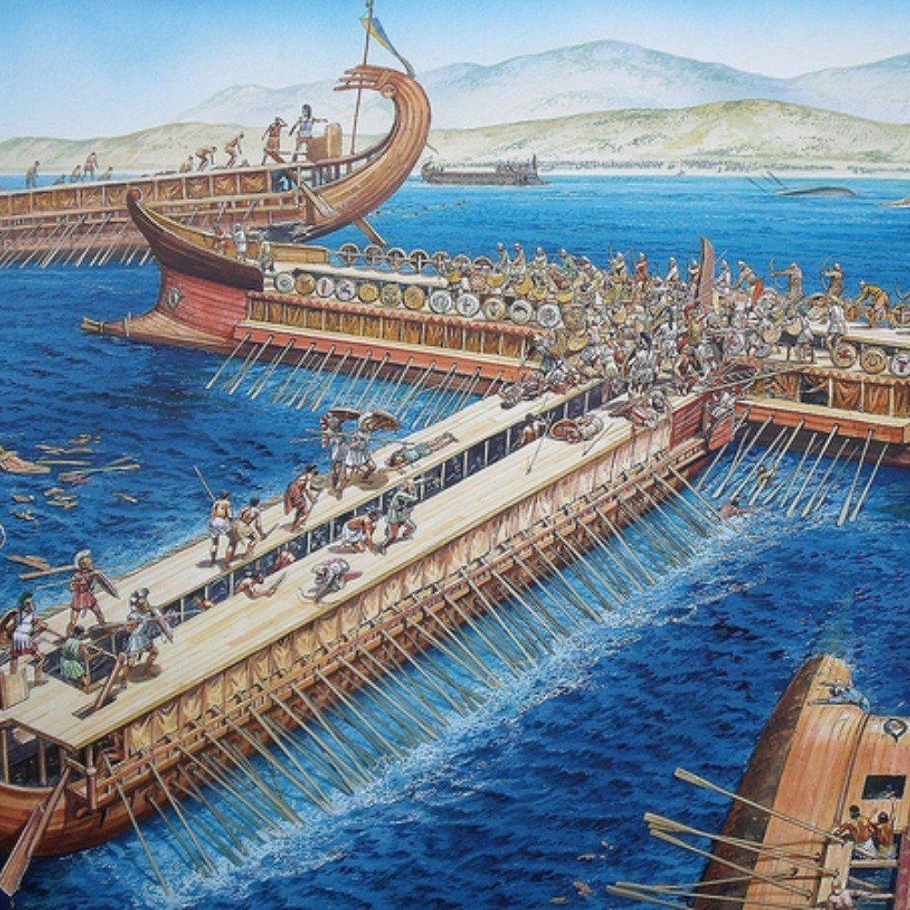 上图:萨拉米斯战役(Battle of Salamis)艺术想象图。主前480年,亚哈随鲁王远征希腊。在温泉关战役中,希腊重装步兵坚守了7天,斯巴达国王及300勇士战死。9月,兵力处于劣势的希腊联军诱使波斯舰队试图封锁狭窄的萨拉米斯海峡。庞大的波斯舰队在海峡内的狭窄水域后难以展开,被早已等待于此的希腊舰队一举击溃,成为第二次希波战争的战略转折点。