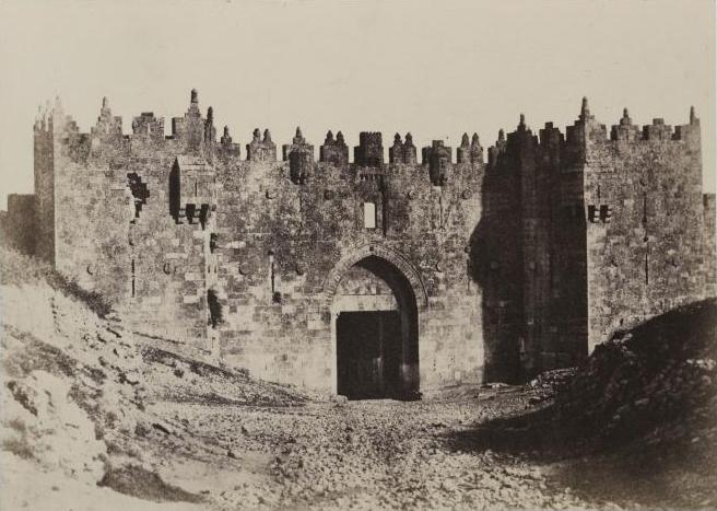 上图:1856年耶路撒冷城北的大马士革门。