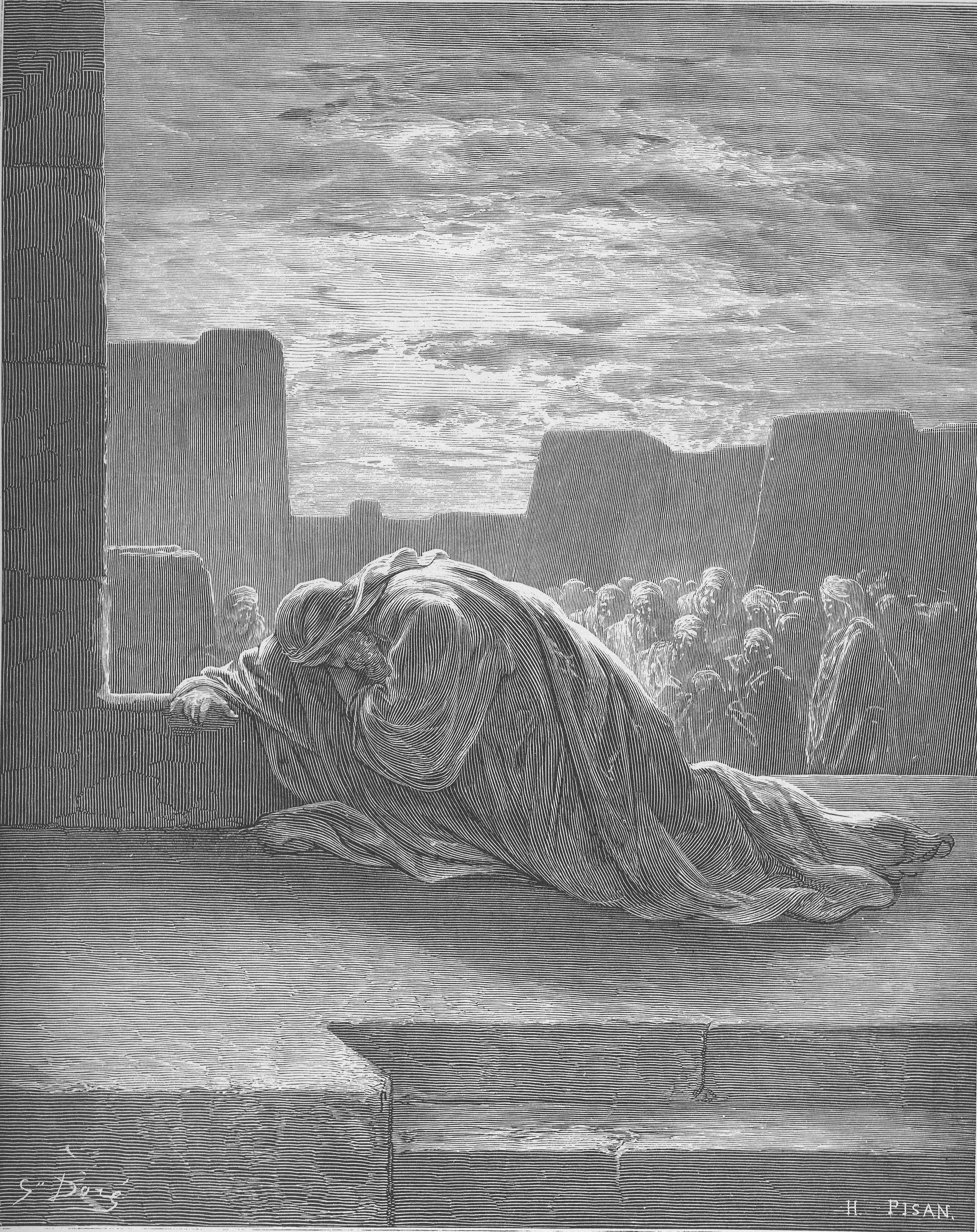 上图:以斯拉祷告,认罪,哭泣,俯伏在神殿前(拉十1)。法国版画家古斯塔夫·多雷(Gustave Doré)1832年的版画作品。