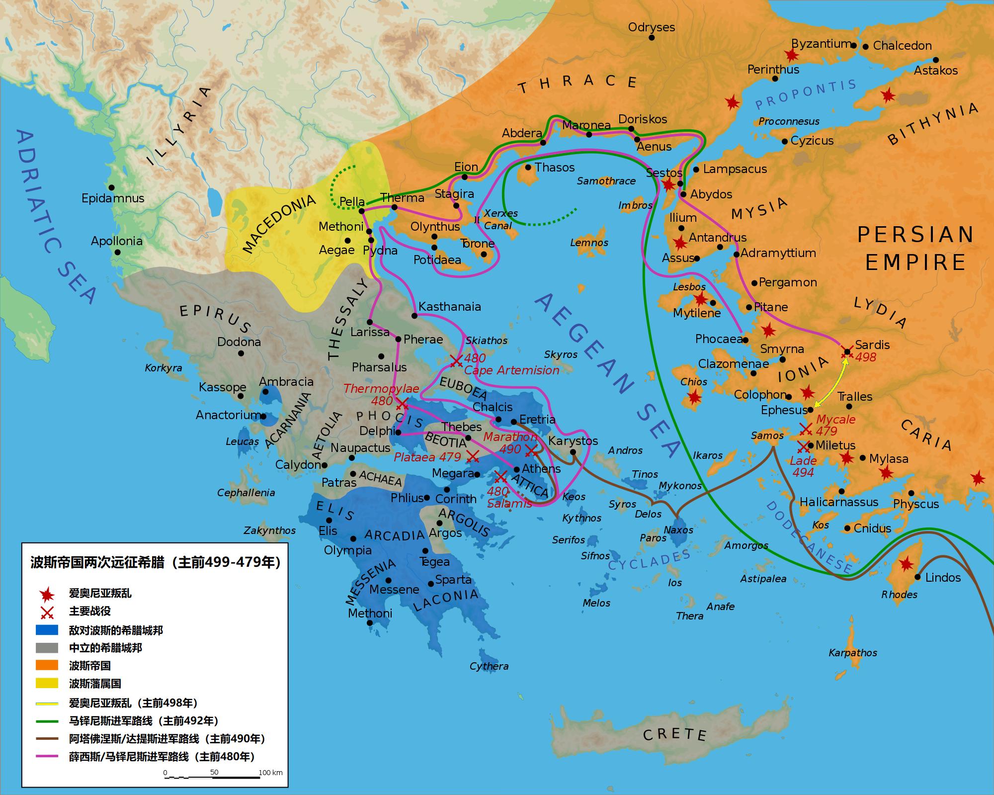 上图:波斯帝国两次远征希腊路线图。希波战争(Greco-Persian Wars)是主前499-449年波斯帝国与希腊城邦之间的一系列战争。主前547年,波斯古列王征服了小亚细亚的希腊城邦爱奥尼亚,但爱奥尼亚一直寻求独立。主前499年,爱奥尼亚发生叛乱,许多小亚细亚小国卷入,欧洲的雅典和埃雷特里亚人帮助他们焚毁了波斯的地方首府撒狄,叛乱持续了6年。为了确保波斯帝国日后不受叛乱的威胁,大流士一世决定先发制人,征服希腊。 第一次远征始于主前492年,波斯将军马铎尼斯指挥军队攻下了色雷斯和马其顿,但因征途中的小差错而功败垂成。主前490年,达提斯和阿塔佛涅斯率军横渡爱琴海,摧毁了埃雷特里亚,但在马拉松战役被雅典军队打败,大流士一世也于主前486年去世。 主前480年,大流士之子薛西斯一世亲率古代史上首屈一指的大军第二次远征希腊,在温泉关战役中击败了斯巴达和雅典联军,一度占领了希腊的大部分土地。但波斯海军却在萨拉米斯海战中被希腊联军击溃,随后希腊人转守为攻,在普拉提亚战役中再次得胜,从而结束了波斯的第二次入侵。