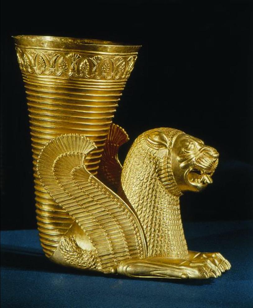上图:主前5-4世纪波斯帝国时期的金杯。