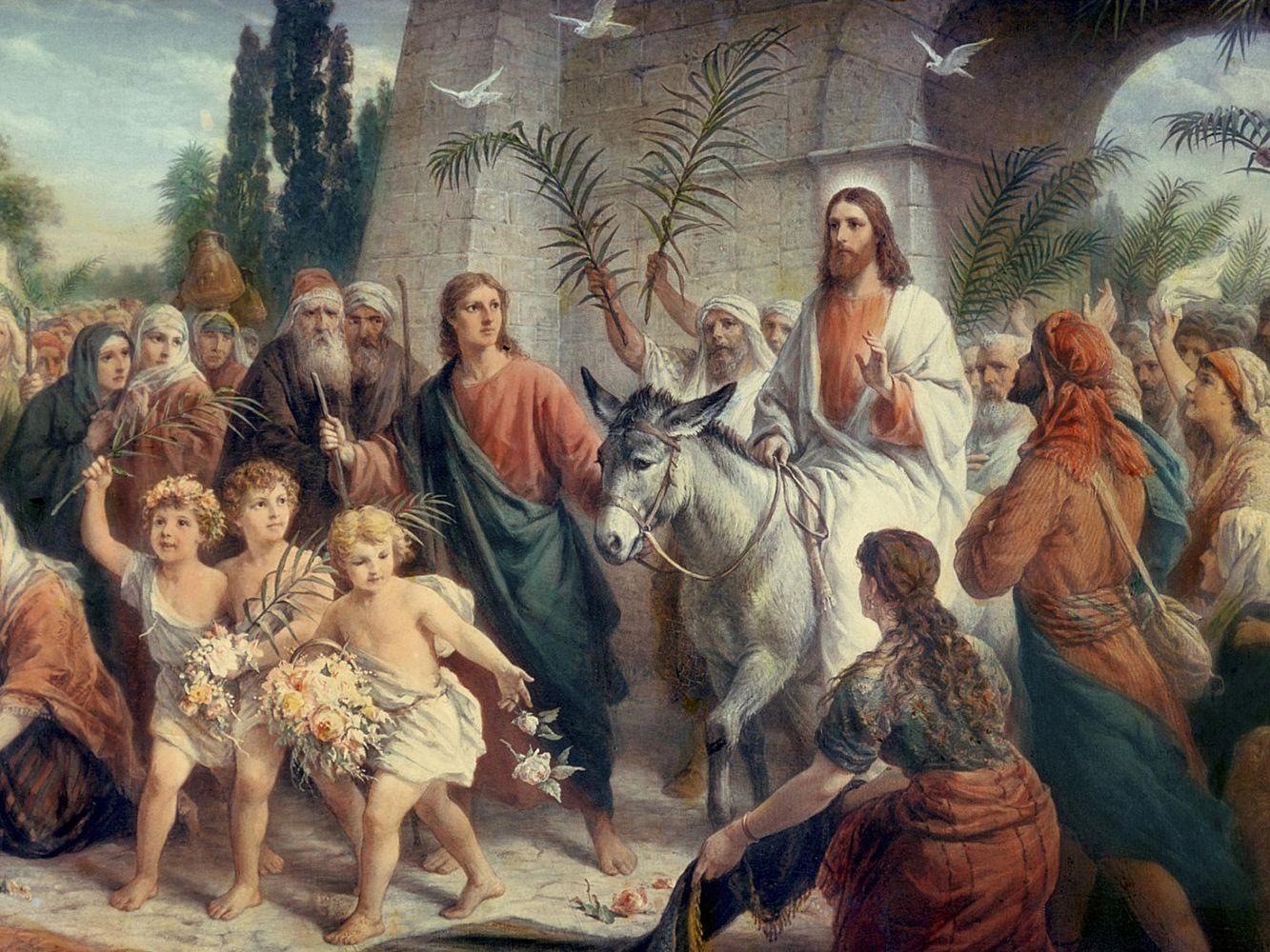 上图:耶稣基督骑驴进入耶路撒冷的艺术想象图。棕树主日(Palm Sunday)是复活节之前的主日,标志着圣周的开始,是天主教、东正教、圣公会、信义宗等基督教宗派庆祝的节日,以记念耶稣基督在这一天骑驴入耶路撒冷,百姓手持棕榈树枝、欢呼和散那,把祂当作弥赛亚君王来欢迎。