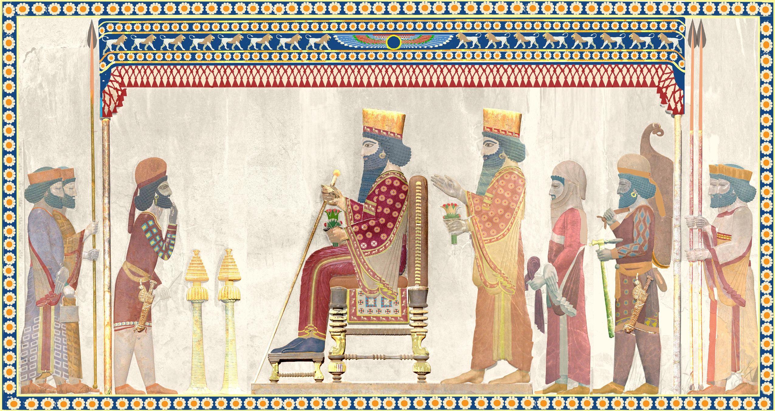 上图:波斯波利斯王宫浮雕的复原图,展现了波斯宫廷的礼仪。国王穿着朝服,手持金杖。