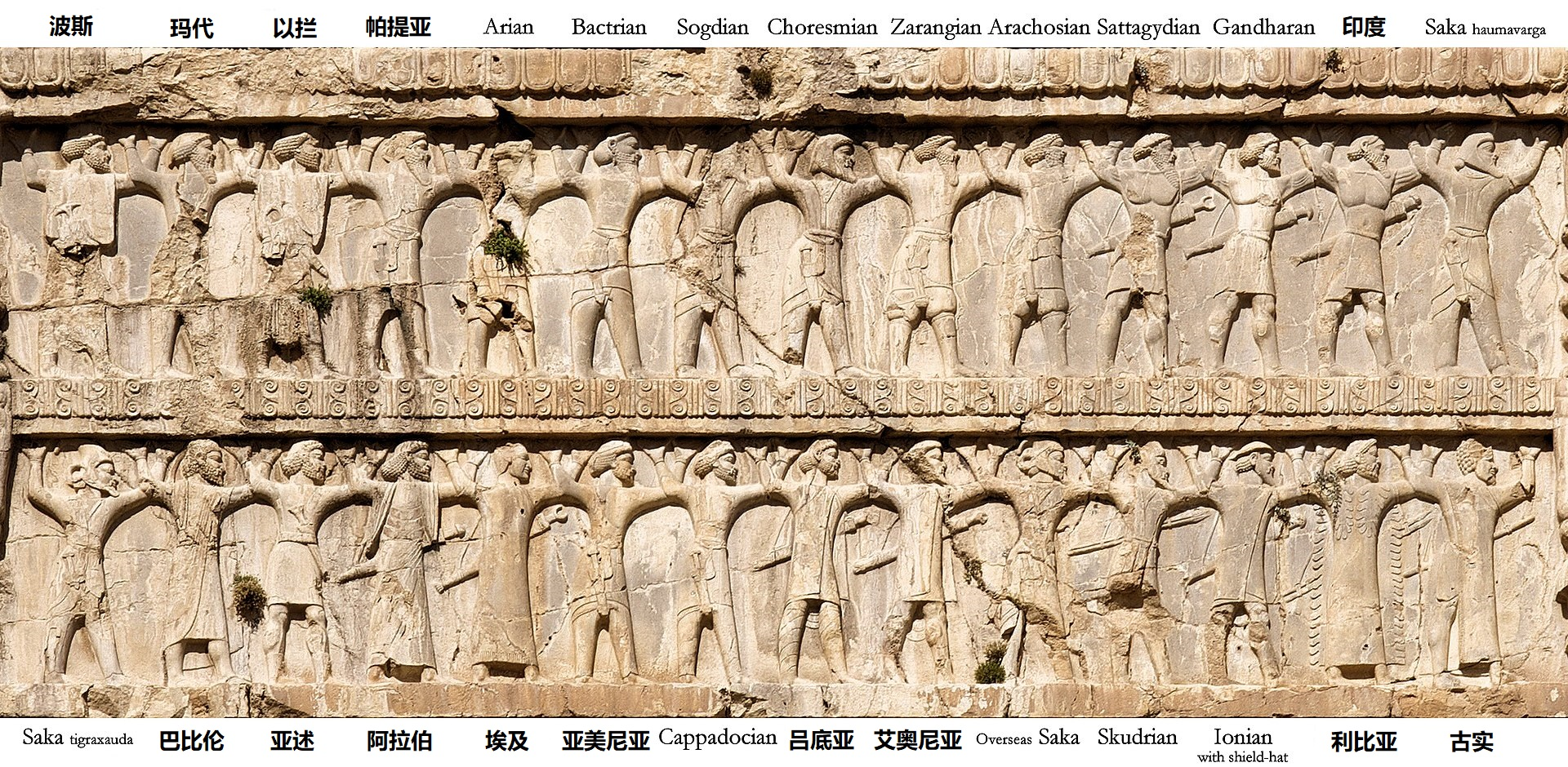 上图:亚哈随鲁王墓上所刻的各族士兵。根据希罗多德(Herodotus)的记载,亚哈随鲁于主前480年春天从撒狄(Sardis)出发远征希腊,一百万波斯大军由帝国境内的各族士兵组成,包括:亚述人(Assyrians)、腓尼基人(Phoenicians)、巴比伦人(Babylonians)、埃及人(Egyptians)、犹太人(Jews)、马其顿人(Macedonians)、欧洲色雷斯人(European Thracians)、皮奥尼亚人(Paeonians)、亚该亚的希腊人(Achaean Greeks)、艾奥尼亚人(Ionians)、爱琴海的岛民(Aegean islanders)、爱奥尼亚人(Aeolians)、本都的希腊人(Greeks from Pontus)、科尔基斯人(Colchians)、印度人(Indians)等等,实际可能是6万名战士。因此,在所以在远征希腊之前,需要与各族的贵胄和首领商议「一百八十日」(斯一4)。