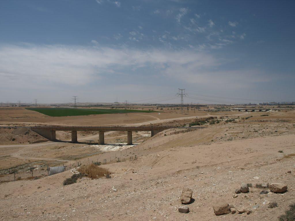 上图:从南地的别是巴遗址看干涸的别是巴河(Nahal Beersheba)。这是一条季节性的旱溪,夏天干涸,雨季有水。