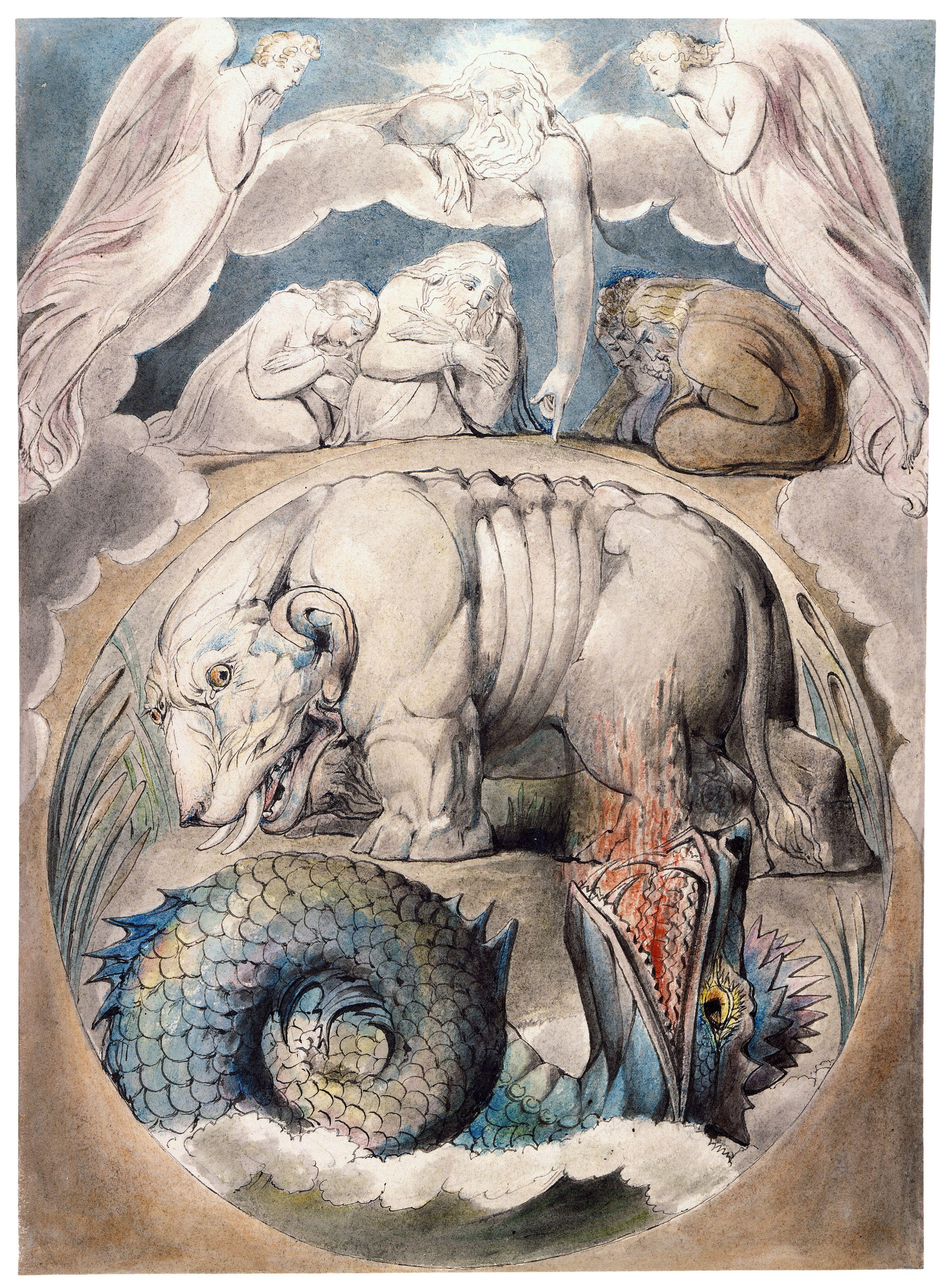 上图:英国诗人、画家威廉·布莱克(William Blake,1757-1827年)的版画《河马和利维坦 Behemoth and Leviathan》,描绘「你且观看河马。我造你也造它」(伯四十15)。
