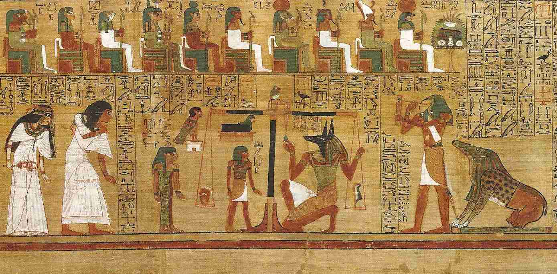 上图:主前1250年的古埃及纸莎草纸《死者之书 book of the dead》(或译为亡灵书、死亡之书)的一部分。《死者之书》是图文并茂的卷轴,放在棺材中,内容因人而异。目的都是教导死者在前往阴间的路上保护自己,并回答42位神明的审问,以证明自己无罪,甚至不惜用咒语愚弄神明。