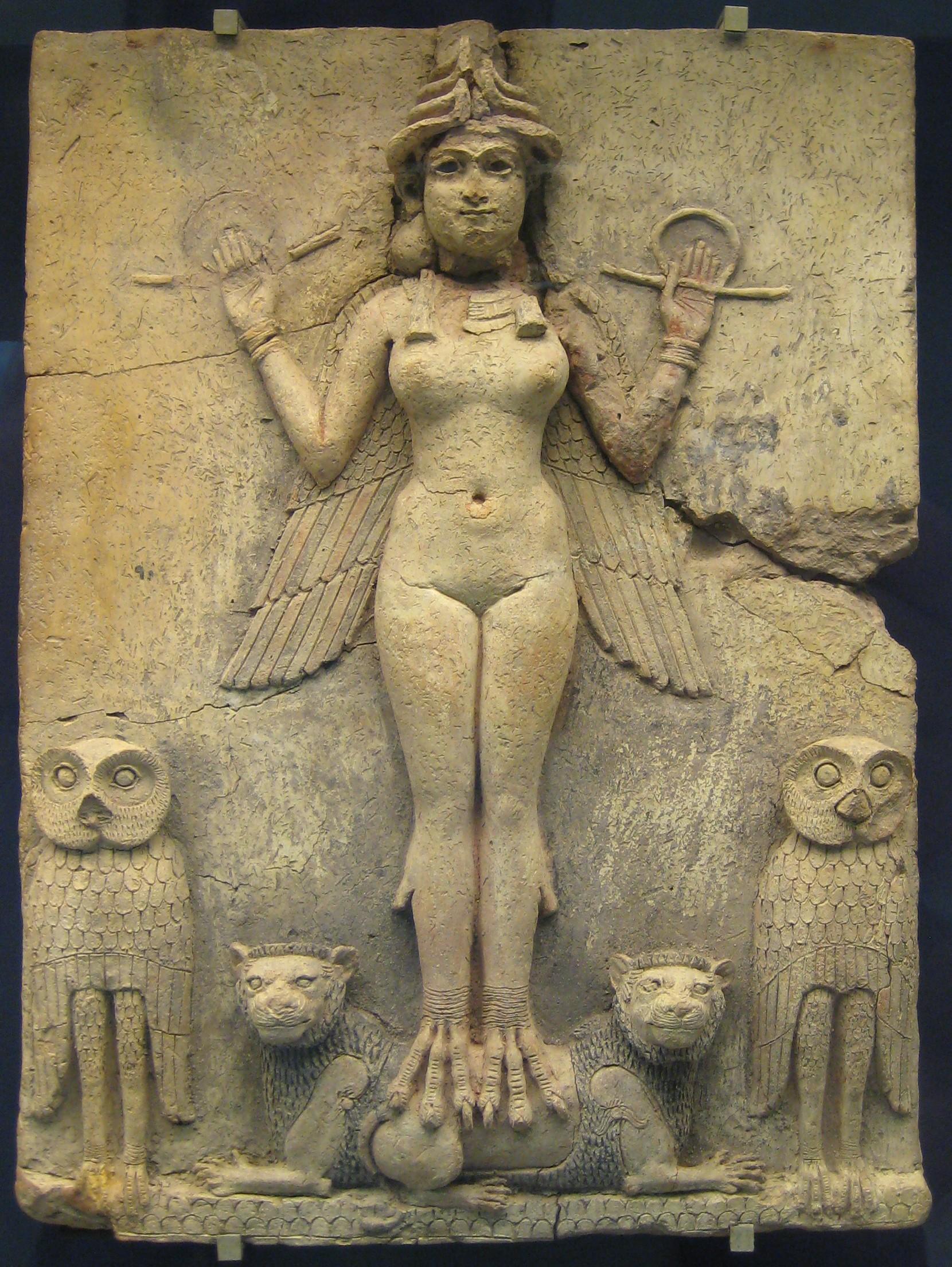 上图:美索不达米亚神话中阴间女神埃列什基伽勒(Ereshkigal)。在苏美尔神话《伊南娜下冥界》( Inanna's Descent to the Underworld)中,描述了阴间的城门建筑,有七道城门,每道城门都有守卫管制出入。
