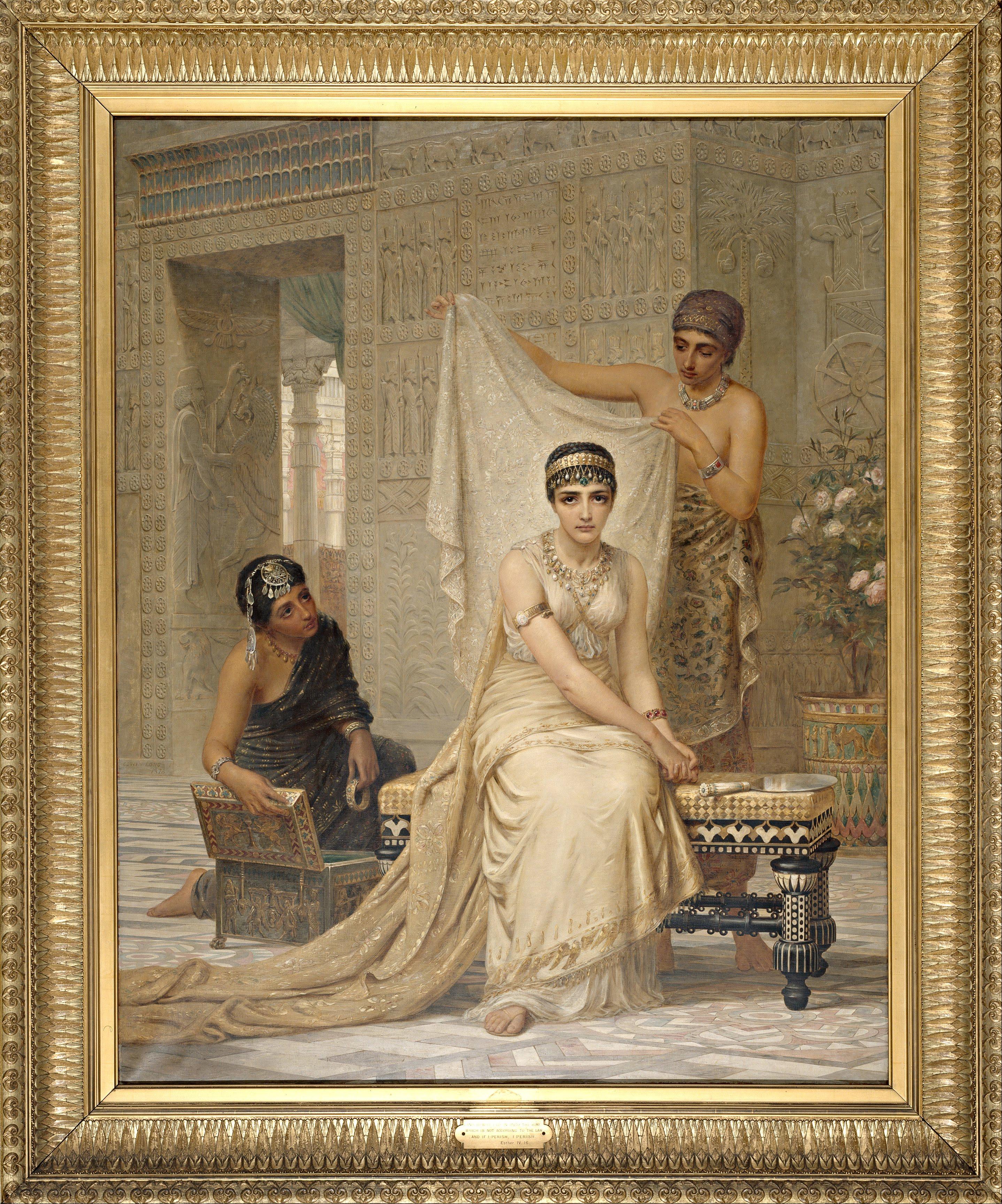上图:英国画家埃德温·朗斯登·朗(Edwin Longsden Long,1829–1891年)1878年的油画作品《以斯帖王后 Queen Esther》。