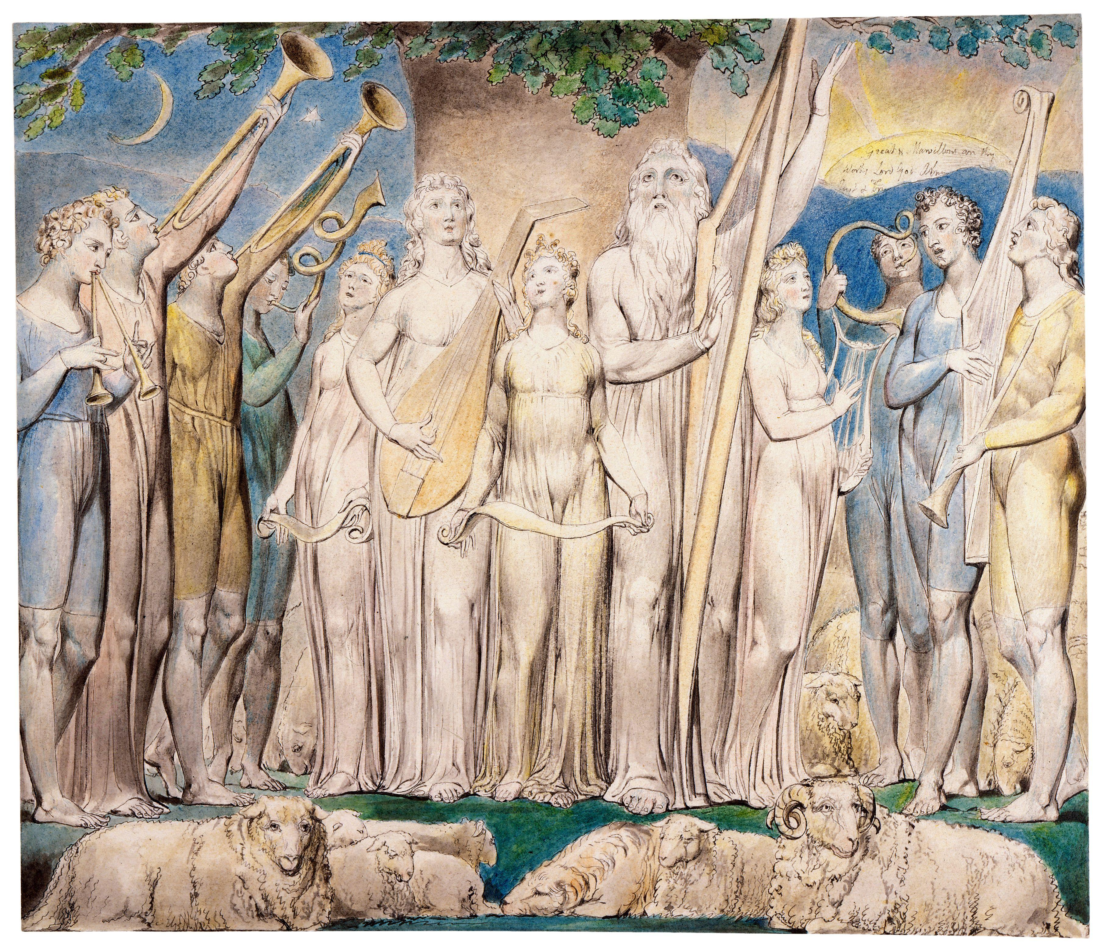 上图:英国诗人、画家威廉·布莱克(William Blake,1757-1827年)的版画《约伯和他的家庭被恢复 Job and His Family Restored to Prosperity》,描绘「这样,耶和华后来赐福给约伯比先前更多」(伯四十二12)。