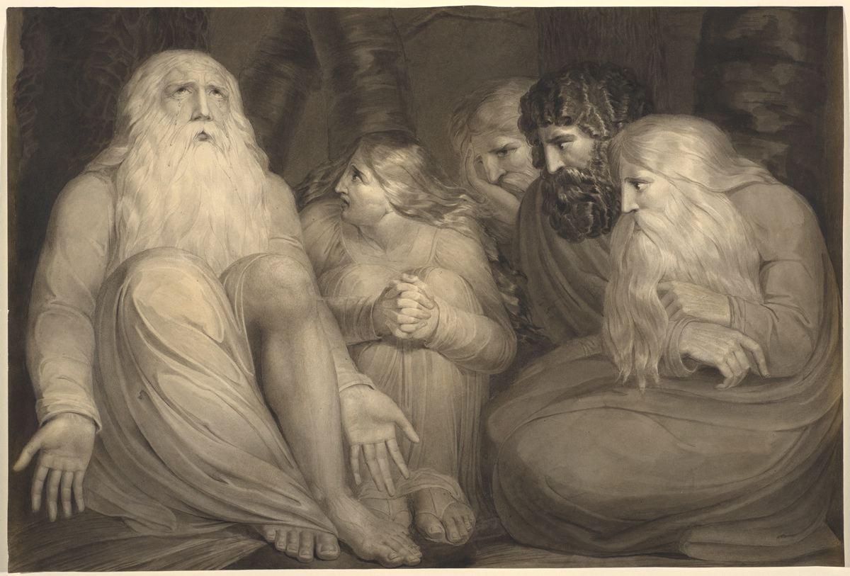 上图:英国诗人、画家威廉·布莱克(William Blake,1757-1827年)的1793年的早期版画《约伯的安慰者 Job's Tormentors》。
