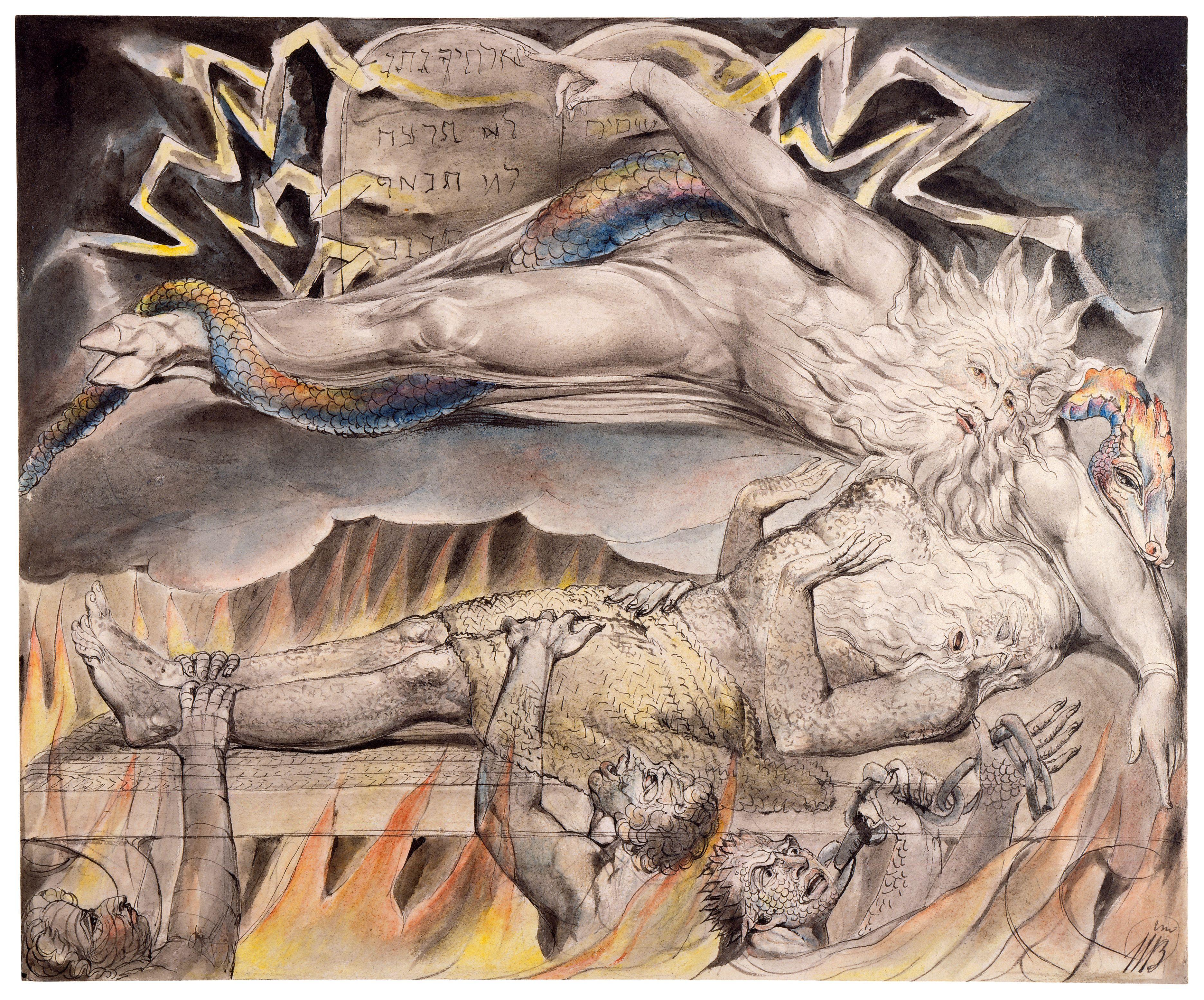 上图:英国诗人、画家威廉·布莱克(William Blake,1757-1827年)的版画《约伯的噩梦 Job's Evil Dreams》,描绘「你就用梦惊骇我,用异象恐吓我」(伯七14)。