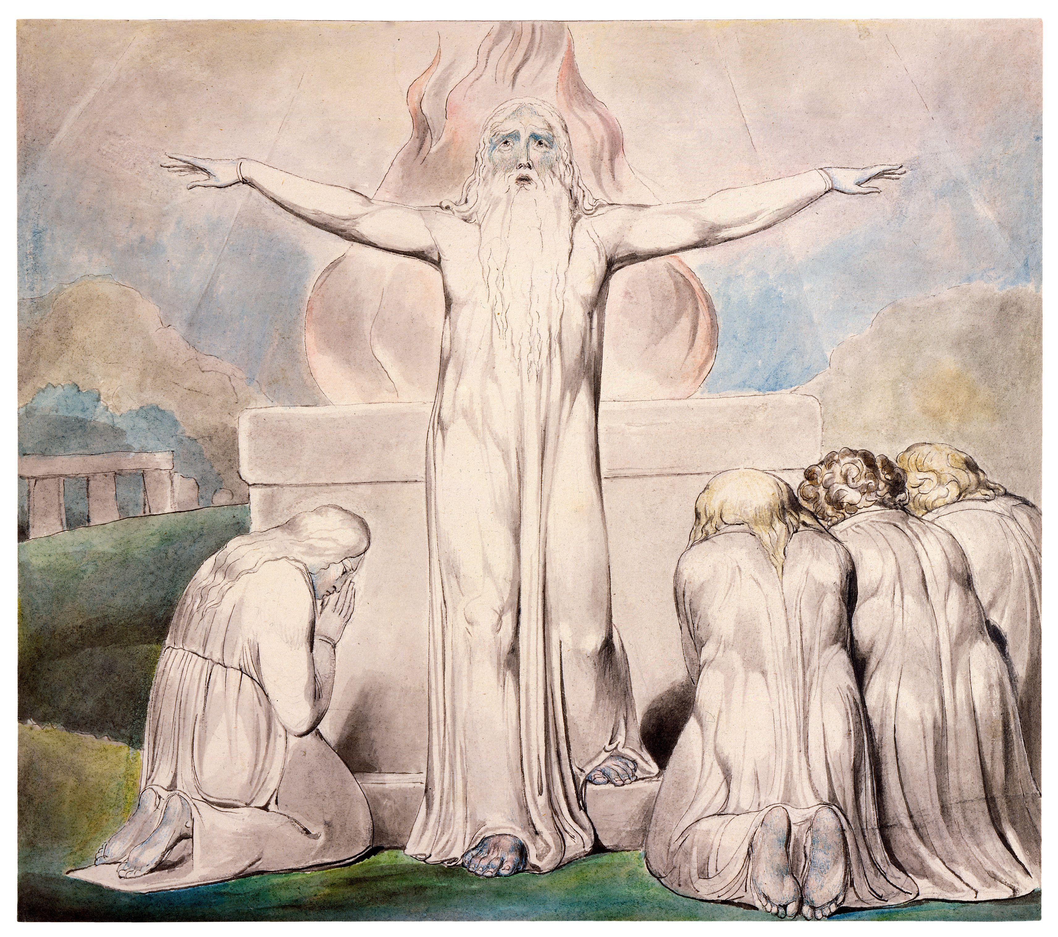 上图:英国诗人、画家威廉·布莱克(William Blake,1757-1827年)的版画《约伯的献祭 Job's Sacrifice》,描绘「我的仆人约伯就为你们祈祷」(伯四十二8)。