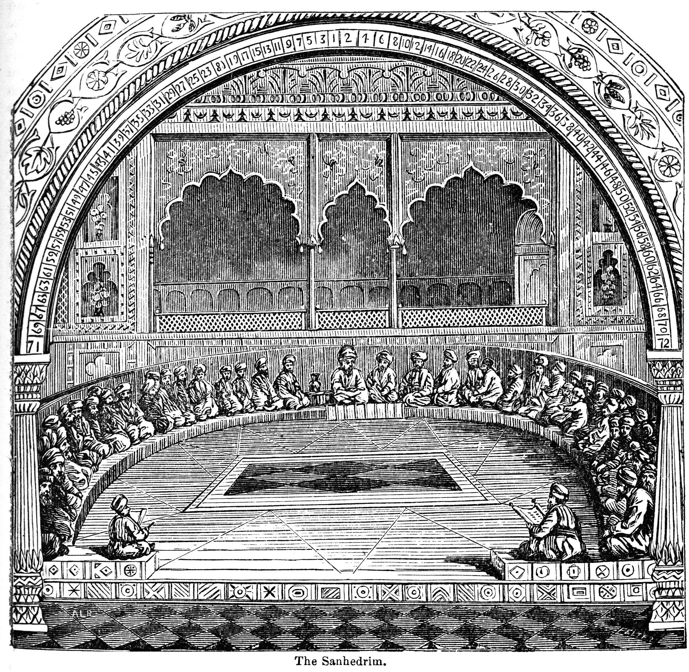 上图:古代以色列的法庭。公会(Sanhedrin)是由23或71位长老组成的法院,这些长老在第二圣殿被毁后被称为拉比(Rabbis)。大公会(Greater Sanhedrin)是最高法院,包括一名大法官、一名副大法官和另外69名成员。每个城市都有一个23名法官组成的小公会(Lesser Sanhedrin)。在东罗马帝国的持续迫害下,犹太大公会于主后425年被解散。