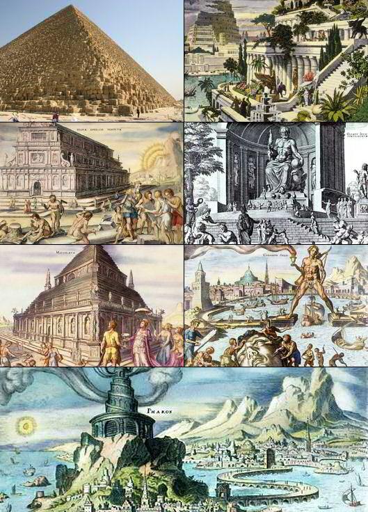 上图:古希腊历史学家希罗多德于主前5世纪列出的古代世界七大奇迹清单,由左至右、由上至下分别为:埃及吉萨胡夫金字塔、巴比伦空中花园、以弗所亚底米神庙、奥林匹亚宙斯神像、波斯摩索拉斯王陵墓、希腊罗得岛太阳神铜像、埃及亚历山大灯塔。这些广为人知的宏伟建筑,实际上都是「霸者的房屋、恶人住过的帐棚」(伯二十一28)。真正的敬畏神的人,并没有什么宏伟的建筑流传至今。