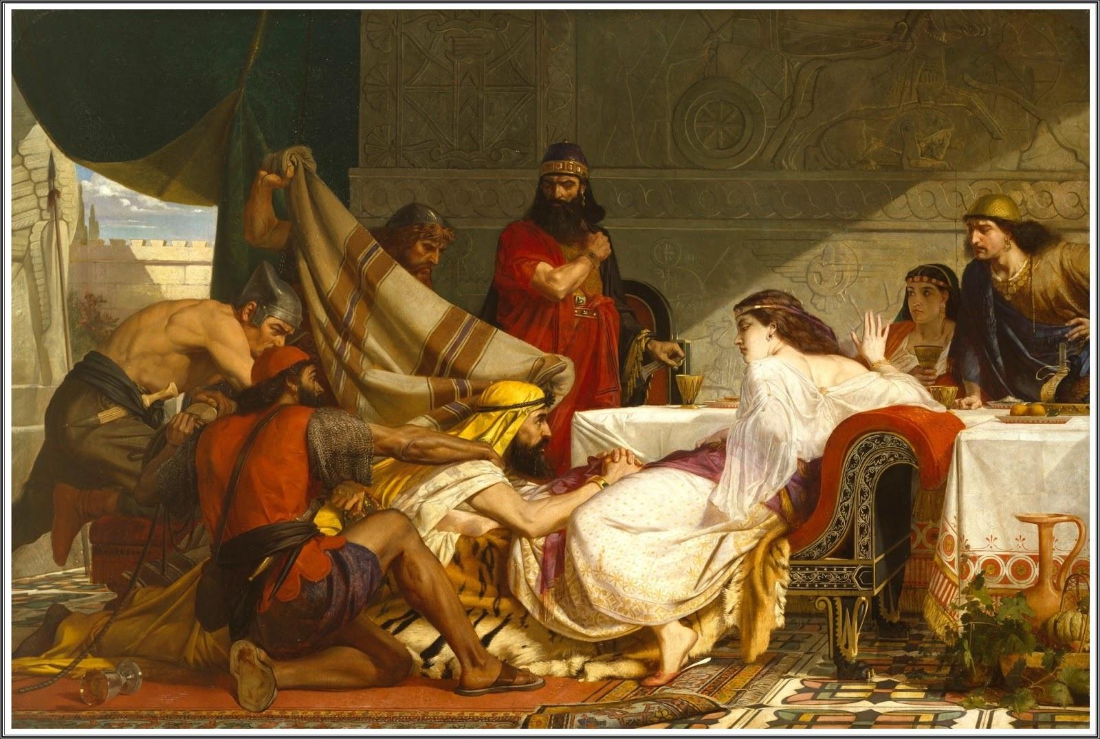 上图:英国画家爱德华·阿米蒂奇(Edward Armitage,1817-1896)1865年的油画作品《以斯帖的筵席 The Festival of Esther》,描绘「哈曼伏在以斯帖所靠的榻上」(斯七8),向她求情。