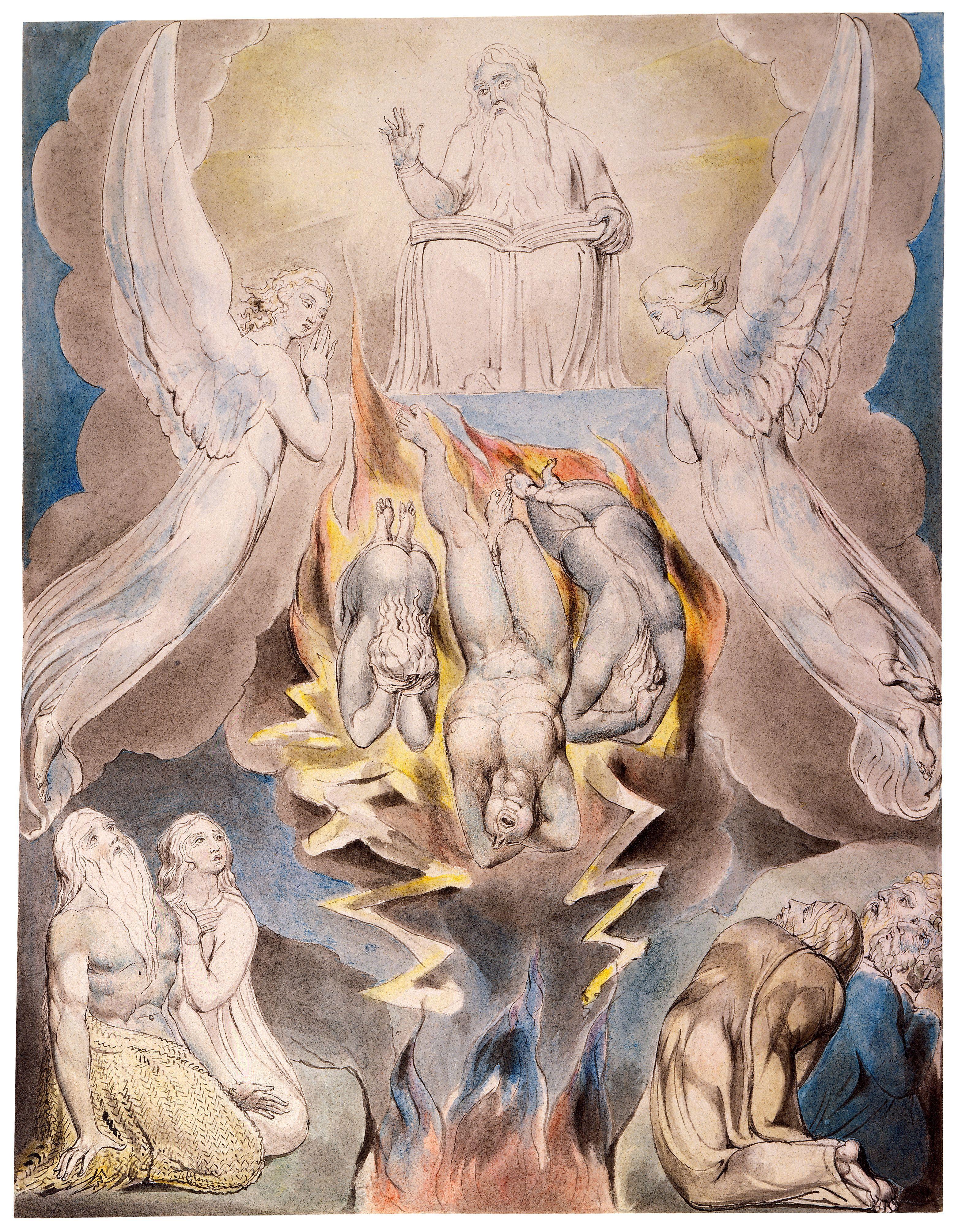 上图:英国诗人、画家威廉·布莱克(William Blake,1757-1827年)的版画《撒但的坠落 The Fall of Satan》,描绘「判断和刑罚抓住你」(伯三十六17)。