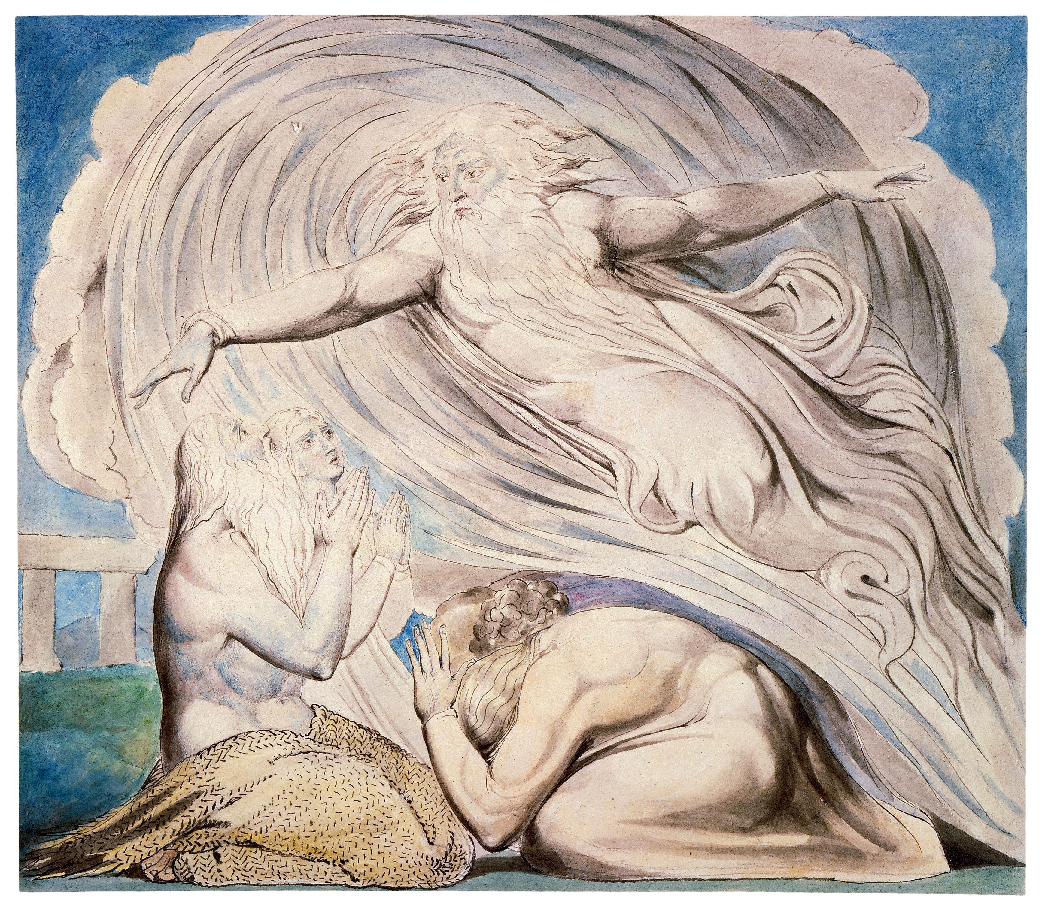 上图:英国诗人、画家威廉·布莱克(William Blake,1757-1827年)的版画《耶和华在旋风中回答约伯 The Lord Answering Job out of the Whirlwind》,描绘「那时,耶和华从旋风中回答约伯」(伯三十八1)。