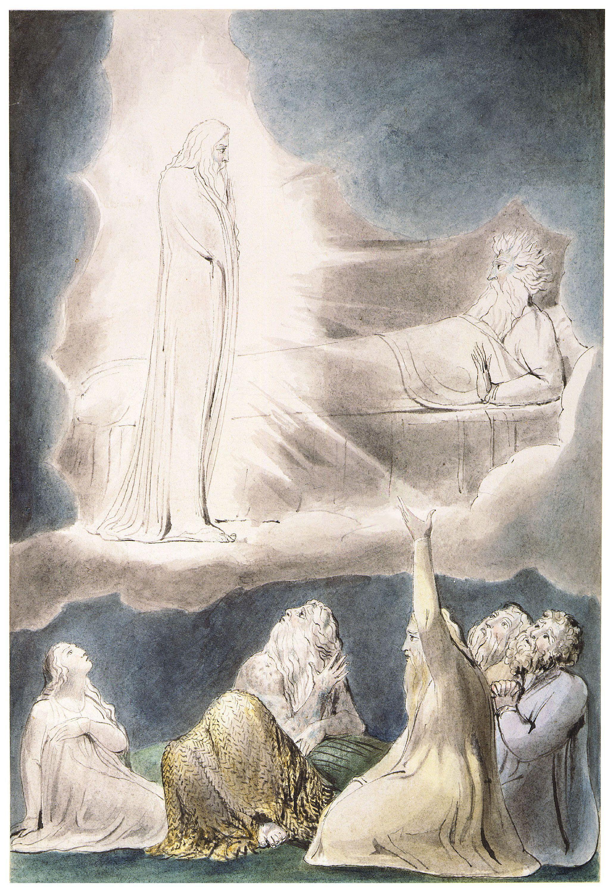 上图:英国诗人、画家威廉·布莱克(William Blake,1757-1827年)的版画《以利法的异象 The Vision of Eliphaz》,描绘「恐惧、战兢临到我身,使我百骨打战」(伯四14)。