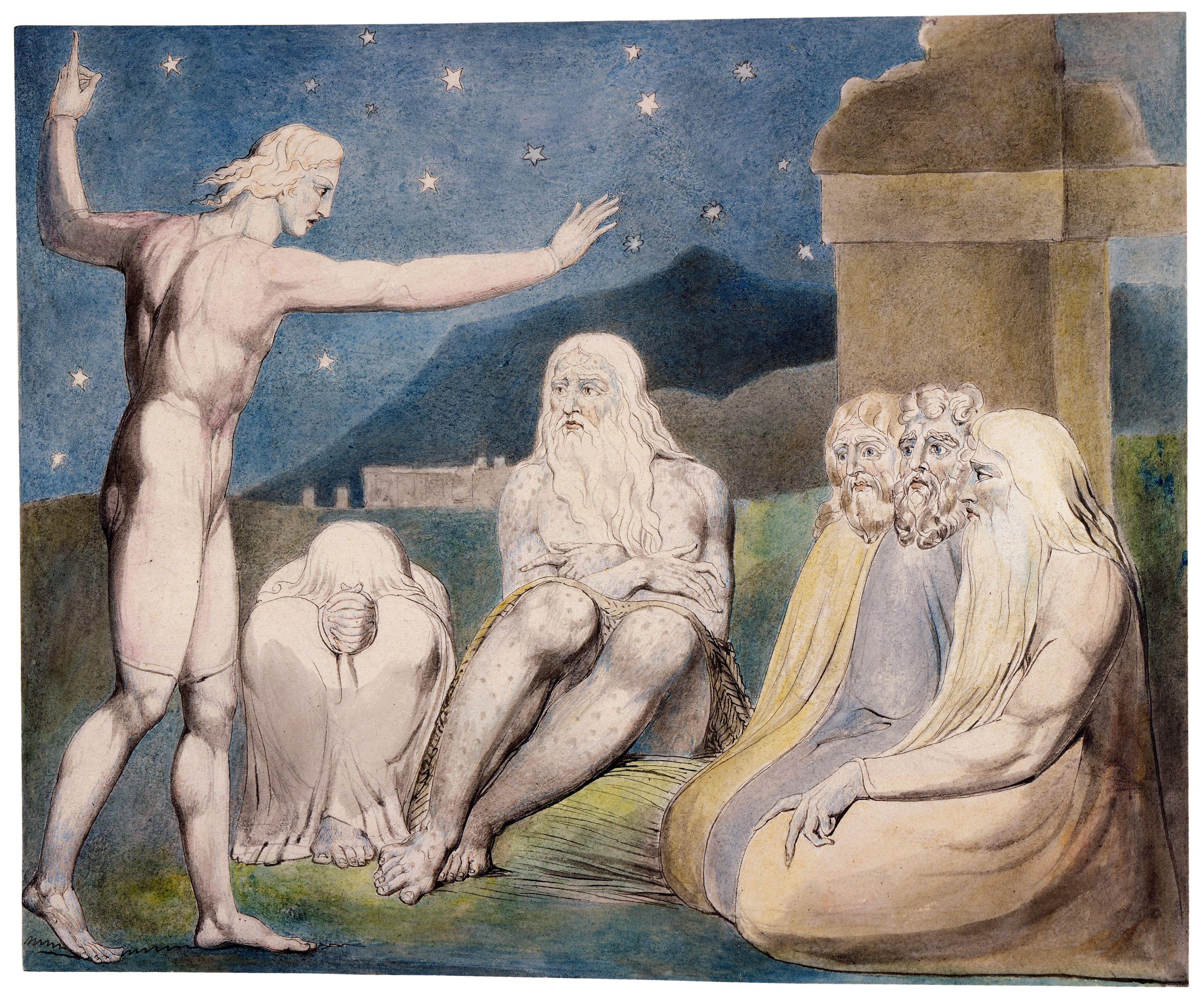 上图:英国诗人、画家威廉·布莱克(William Blake,1757-1827年)的版画《以利户的愤怒 The Wrath of Elihu》,描绘「我年轻,你们老迈;因此我退让」(伯三十二6)。