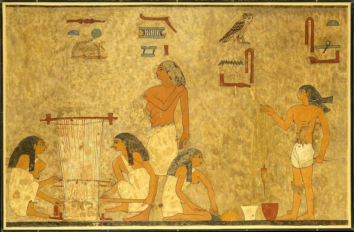 上图:古埃及壁画上的织布场景,两位女工用梭在织布机上织亚麻布(Tomb of Khnumhotep,大约主前1897–1878)。