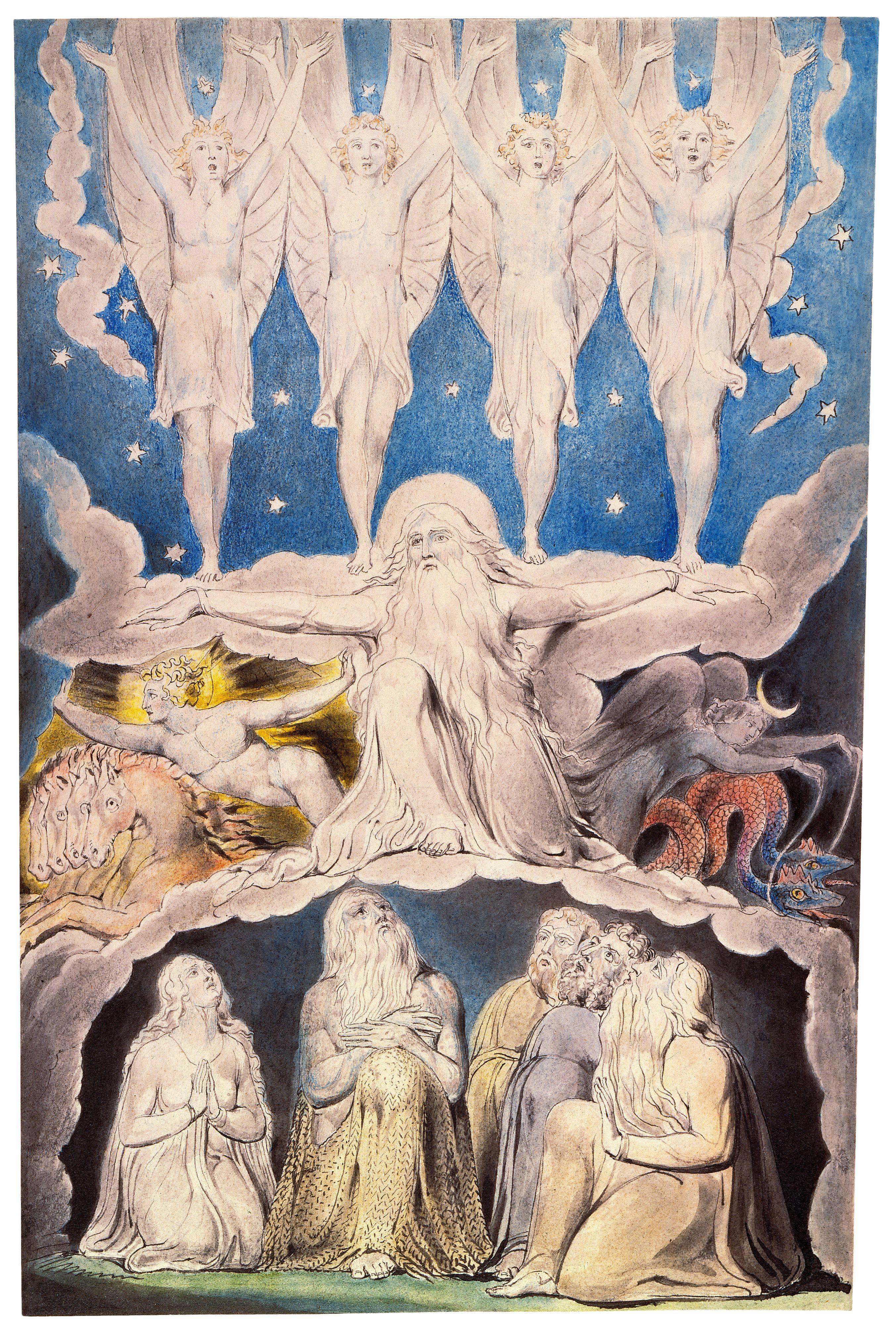 上图:英国诗人、画家威廉·布莱克(William Blake,1757-1827年)的版画《当晨星一同歌唱 When the Morning Stars Sang Together》,描绘「那时,晨星一同歌唱;神的众子也都欢呼」(伯三十八7)。