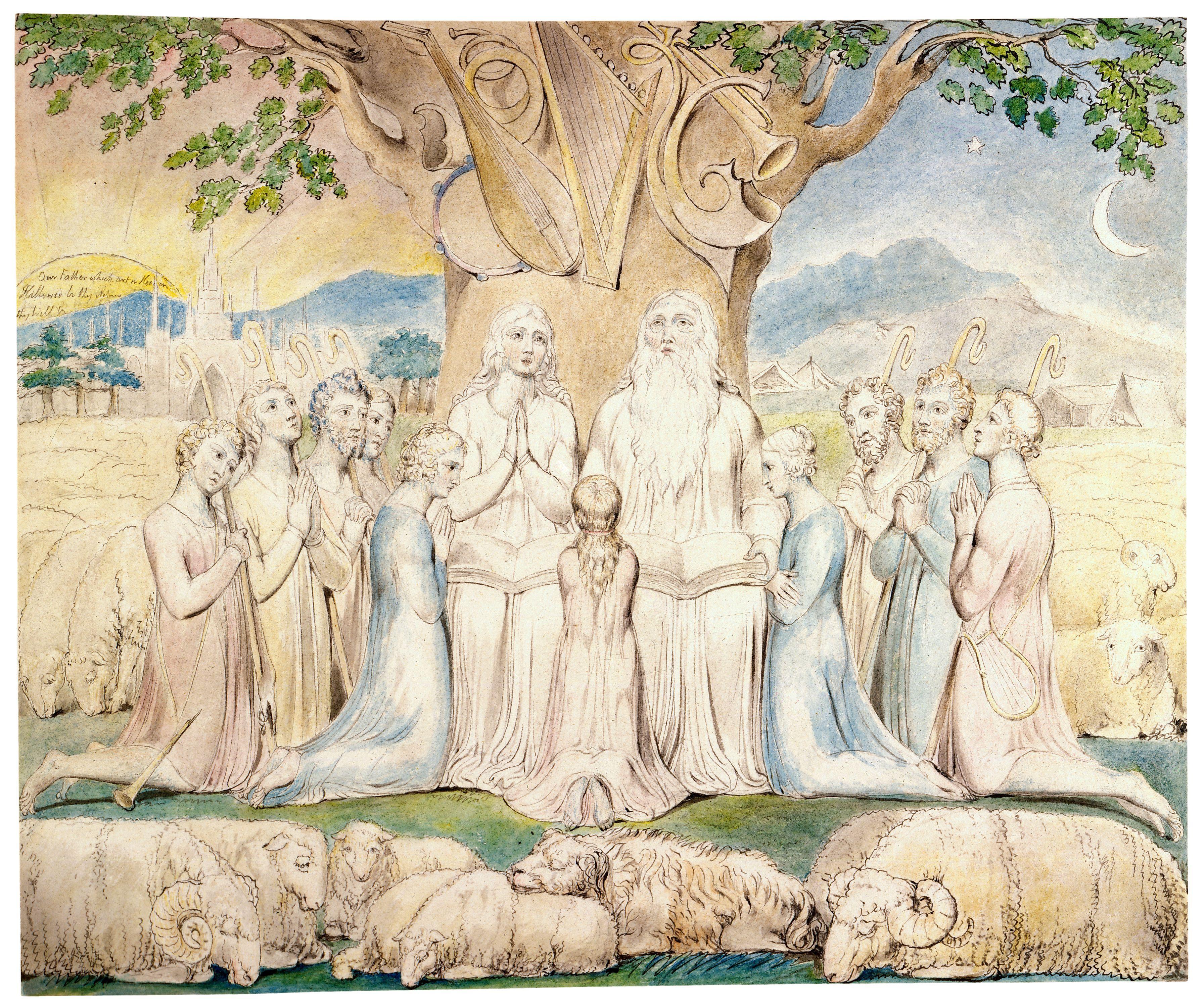 上图:英国诗人、画家威廉·布莱克(William Blake,1757-1827年)的版画《约伯和他的家庭 Job and his family》,描绘「约伯常常这样行」(伯一5)。