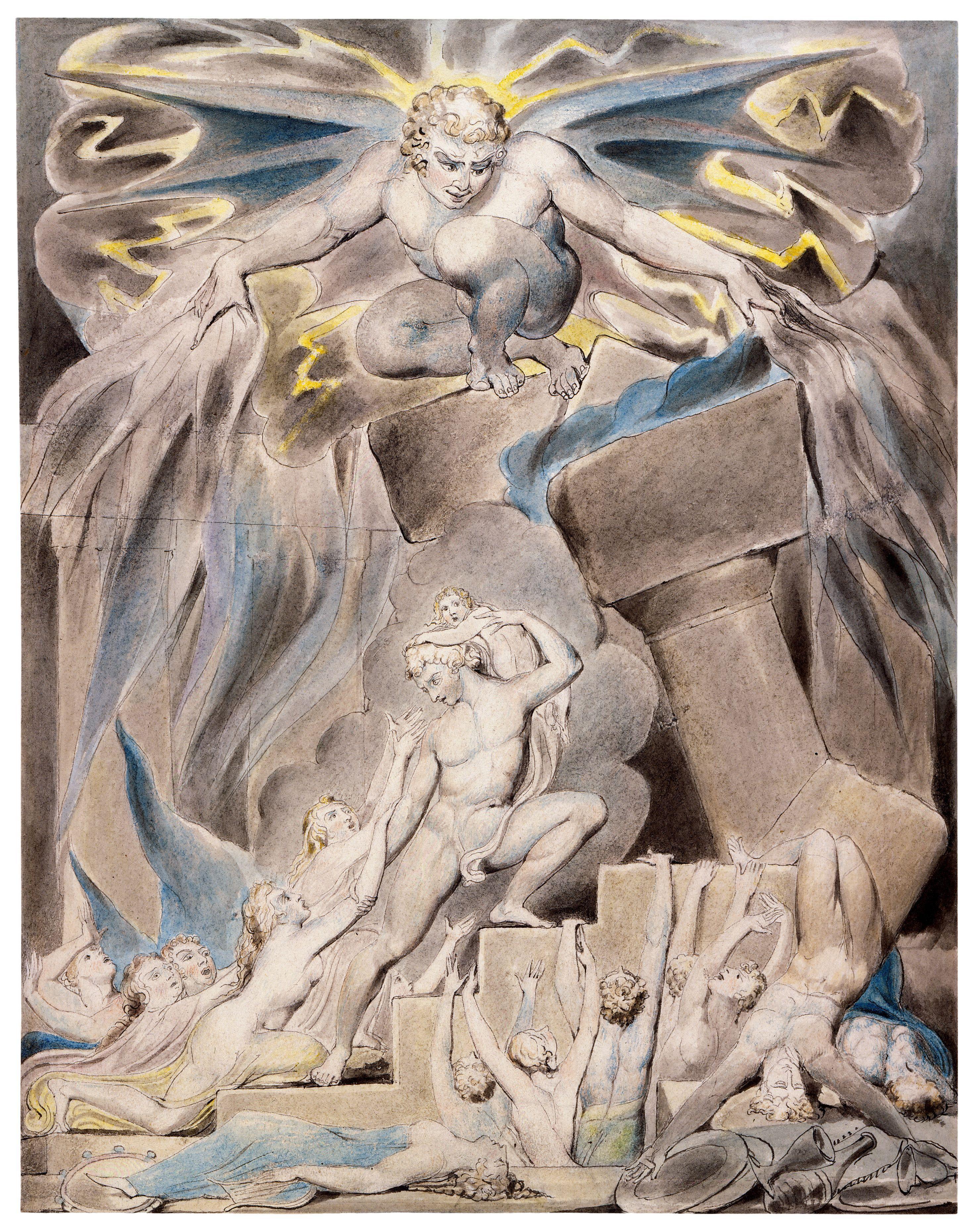 上图:英国诗人、画家威廉·布莱克(William Blake,1757-1827年)的版画《约伯的儿女被撒但击打 Job's Sons and Daughters Overwhelmed by Satan》,描绘「你的儿女正在他们长兄的家里吃饭喝酒,不料,有狂风从旷野刮来,击打房屋的四角,房屋倒塌在少年人身上,他们就都死了」(伯一18-19)。