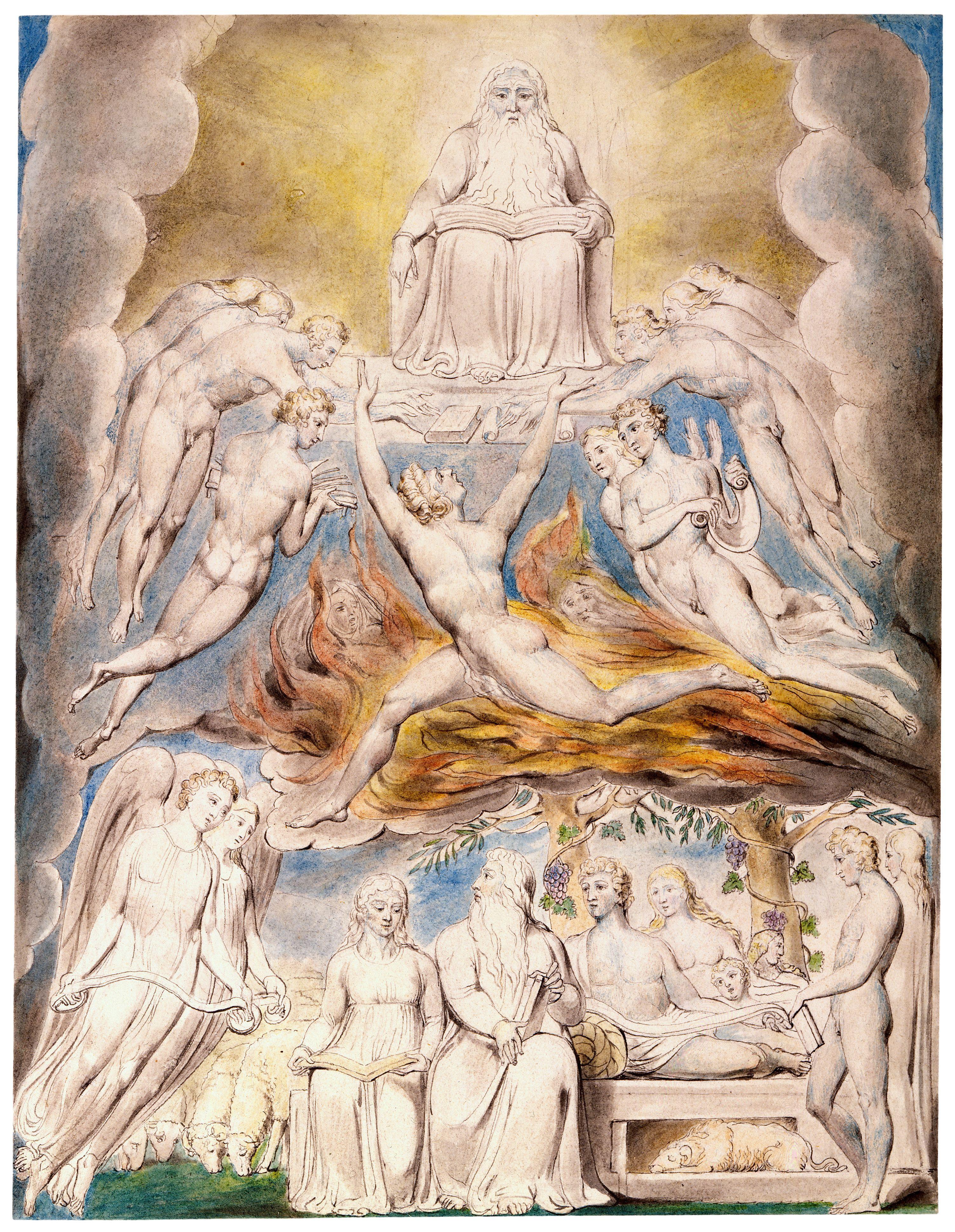 上图:英国诗人、画家威廉·布莱克(William Blake,1757-1827年)的版画《撒但在神的宝座前 Satan Before the Throne of God》,描绘「全能者仍与我同在,我的儿女都环绕我」(伯二十九5)。