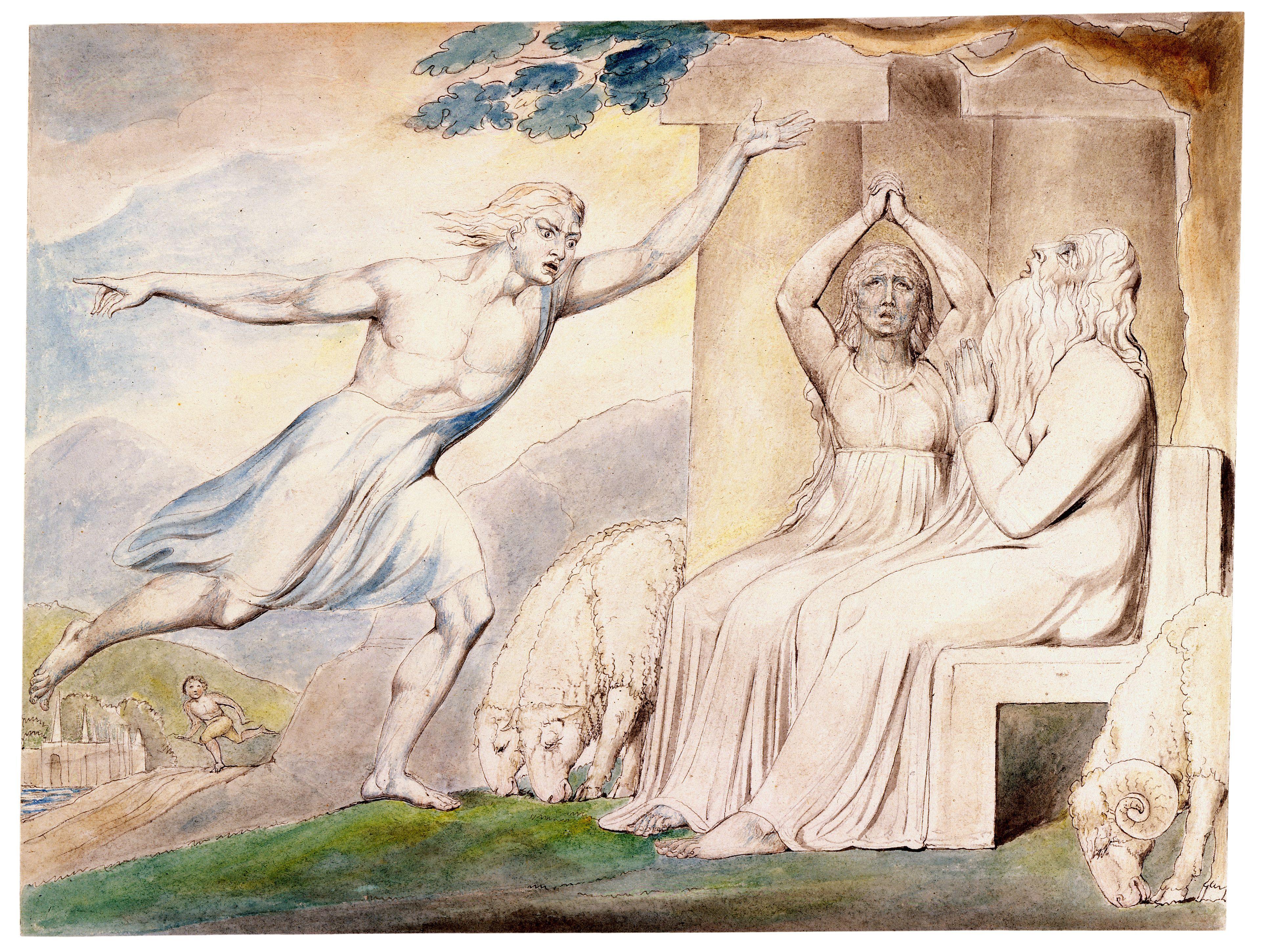 上图:英国诗人、画家威廉·布莱克(William Blake,1757-1827年)的版画《信使向约伯报告他的不幸 The Messengers Tell Job of His Misfortunes》,描绘「惟有我一人逃脱,来报信给你」(伯一15)。
