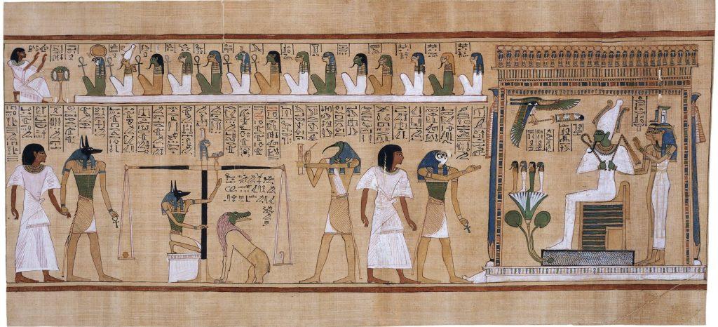 上图:主前1275年古埃及抄写员Hunefer的《亡灵书 book of the dead》中称量心脏的场景。古代中东文化把心视为理智的所在,古埃及人认为心是与魂魄不同的部分,被视为人本性的实质。在上图的三幕审判场景中,左边一幕是胡狼头的丧葬之神阿努比斯(Anubis)把身穿白色细麻衣的死者领到审判大厅。中间一幕是阿努比斯在真实天平上称量死者的心脏。如果心脏比正义女神的玛特(Ma'at)的羽毛重,证明有罪,心会立刻等在旁边的怪兽阿米特(Ammit)吃掉,智慧之神托特(Thoth)则记下此事。右边一幕是隼头的冥王之子荷鲁斯(Horus)把通过测试的死者带到冥王奥西里斯(Osiris)面前,到乐园享受快乐。奥西里斯的后面站着冥后伊西斯(Isis)和亡灵守护神奈芙蒂斯(Nephthys)。