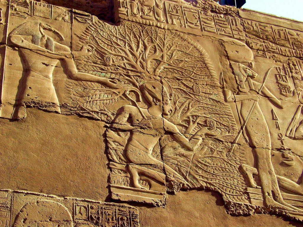 上图:古埃及第19王朝(主前1292 -1189年)的生命树浮雕,位于卡纳克神庙的大多柱厅( The Great Hypostyle Hall at Karnak Temple Complex)。「生命树」的记忆存在于各个古代文明之中,以不同的形式出现在古代苏美尔人、埃及人、巴比伦人、亚述人、中国人、印度人和乌拉尔图人等许多古代文明的文献和遗址里。这从侧面佐证人类的祖先都来自伊甸园。