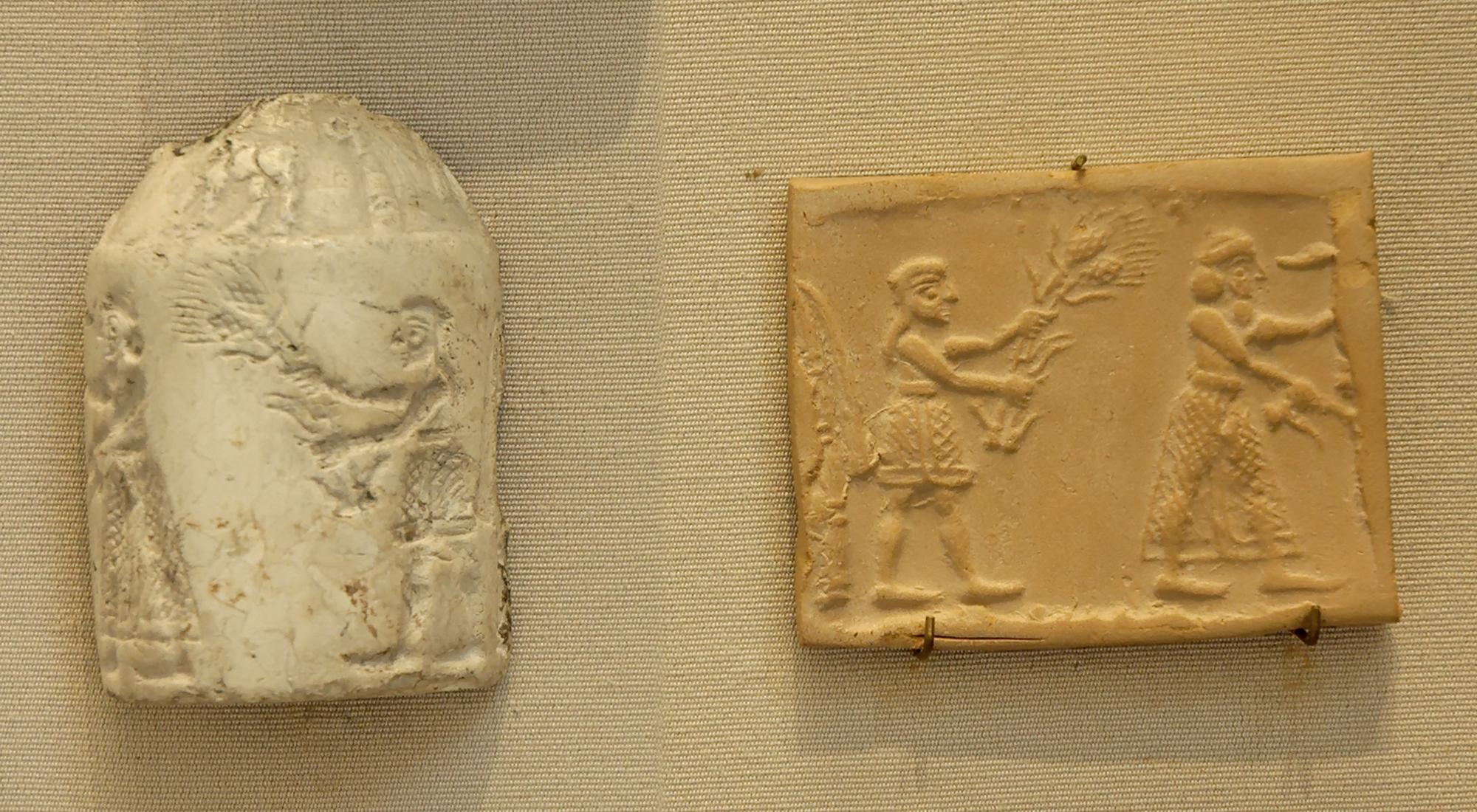 上图:主前3100年的乌鲁克时期的滚筒印章(Cylinder seal)。滚筒印章是古代中东人普遍使用的印章,上面刻有图案故事,在湿的粘土上滚动按压后,可留下连续的图案。滚筒印章发明于主前3500年左右的苏萨和乌鲁克。