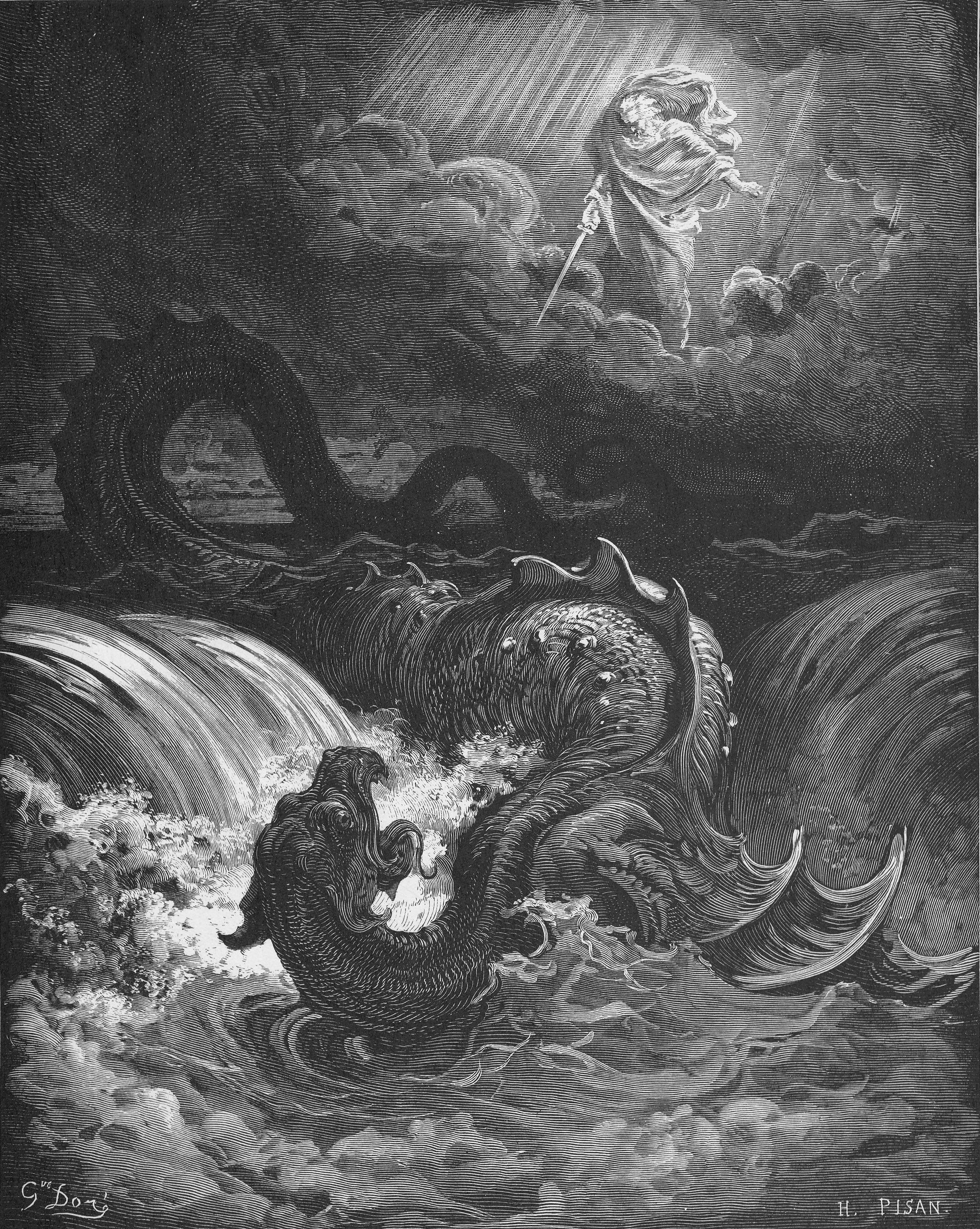 上图:法国版画家古斯塔夫·多雷(Gustave Doré,1832-1883年)1866年的木刻《利维坦的毁灭 The Destruction of Leviathan》。