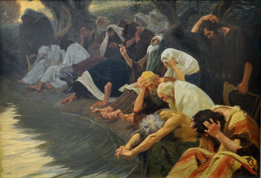 上图:油画《在巴比伦河边 By the rivers of Babylon》,德国画家吉布哈德·福格尔(Gebhard Fugel,1863-1939年)于1920年绘制。