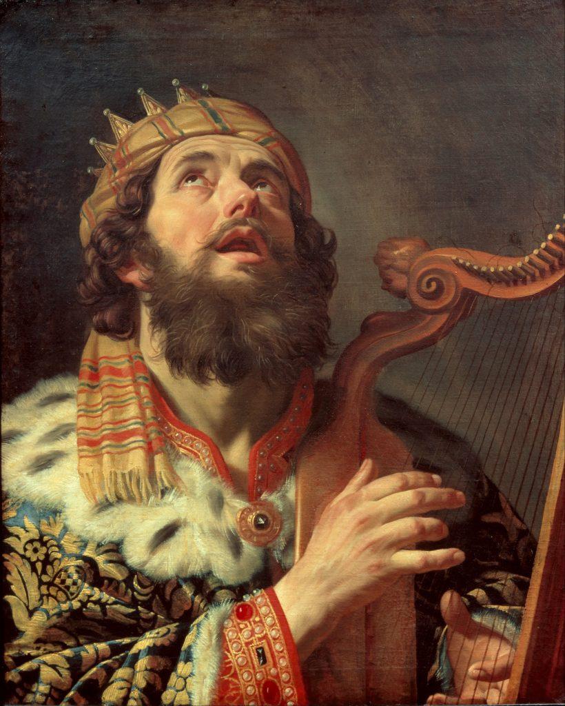 上图:《大卫王弹琴 King David Playing the Harp》,荷兰画家霍恩霍斯特(Gerard van Honthorst,1592-1656)绘于1622年。