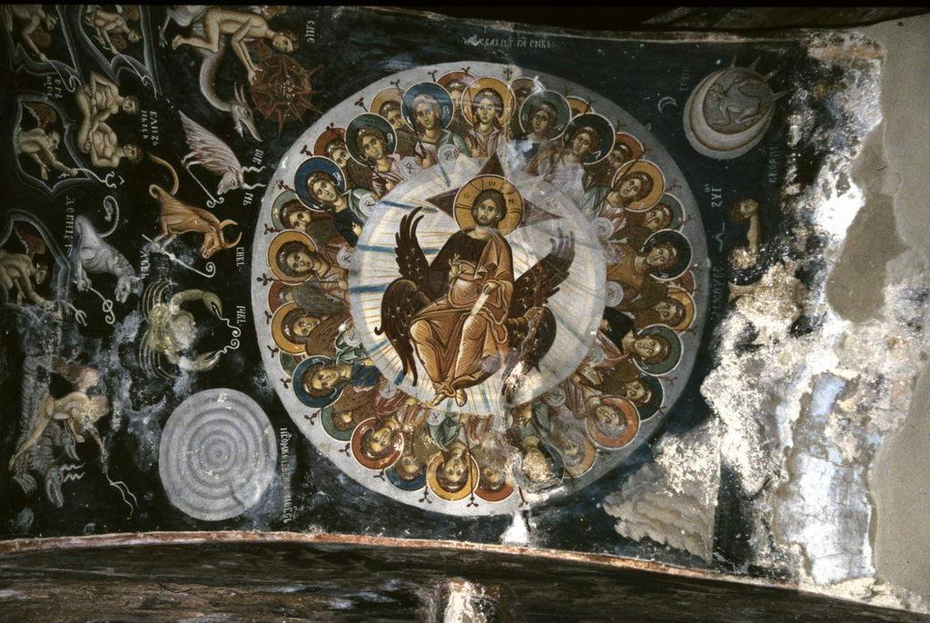 上图:马其顿莱斯诺沃修道院(Lesnovo monastery)中14世纪的诗篇一百四十八篇壁画。