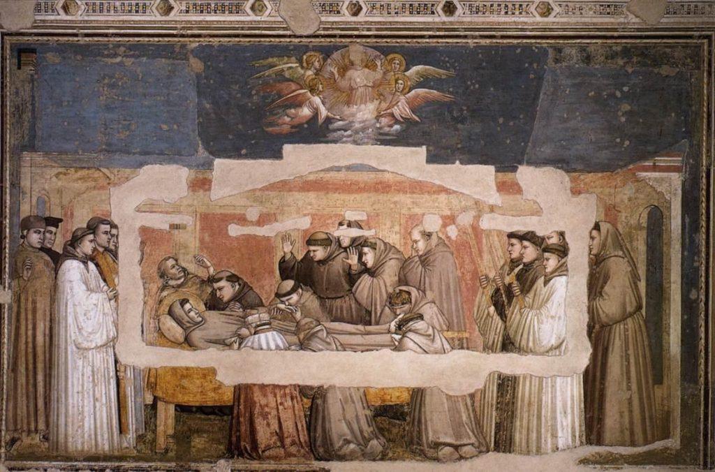 上图:《圣方济之死》,西方绘画之父乔托(Giotto di Bondone)1325年的作品。方济各会(Francesco)的创始人亚西西的方济各(Francis of Assisi)在临终前背诵了诗篇一百四十二篇。