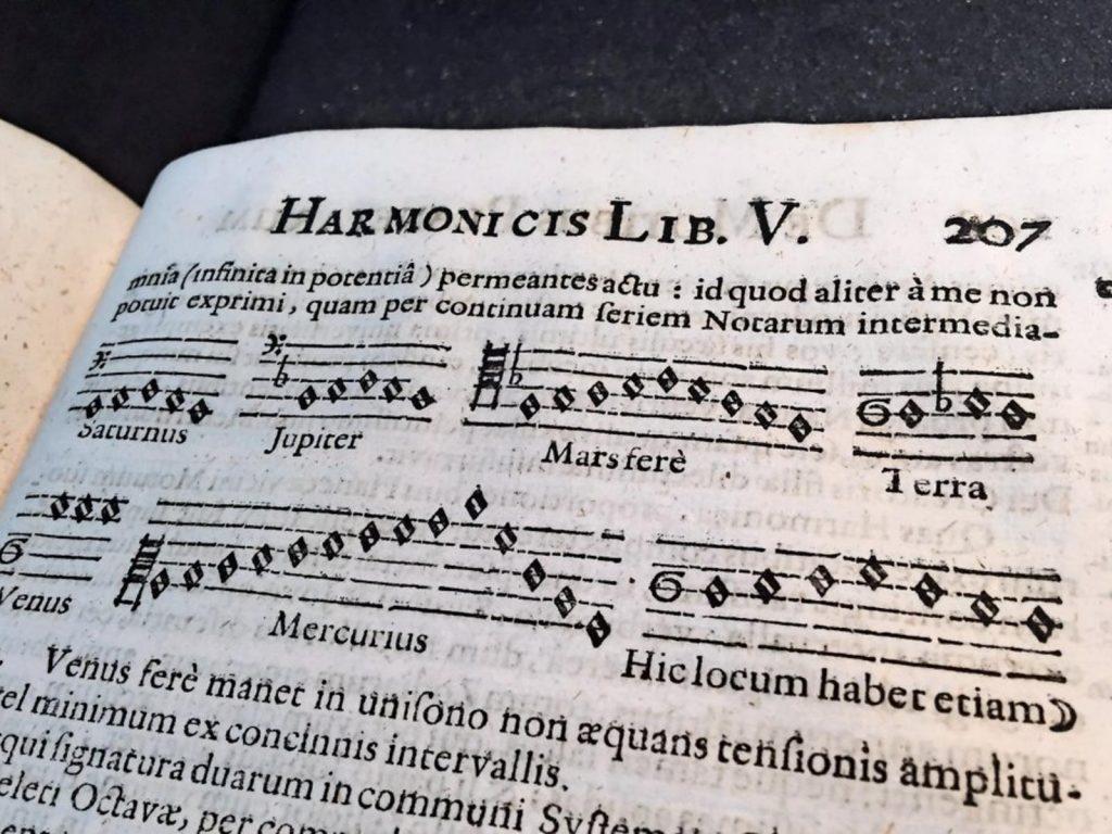 上图:开普勒在《世界的和谐 Harmonices Mundi》一书中组成了一个天体合唱团,包括一个男高音(火星 Marsfere),两个低音(土星Saturnus、木星Jupiter),一个女高音(水星Mercurius)和两个女低音(金星Venus、地球Terra)。在一个非常罕见的时间间隔内,所有的行星都会完美和谐地歌唱。开普勒认为,这可能在历史上只发生过一次,也就是在创造之时:「那时,晨星一同歌唱;神的众子也都欢呼」(伯三十八7)。在该书的结尾,开普勒邀请所有的读者一起赞美神的创造。