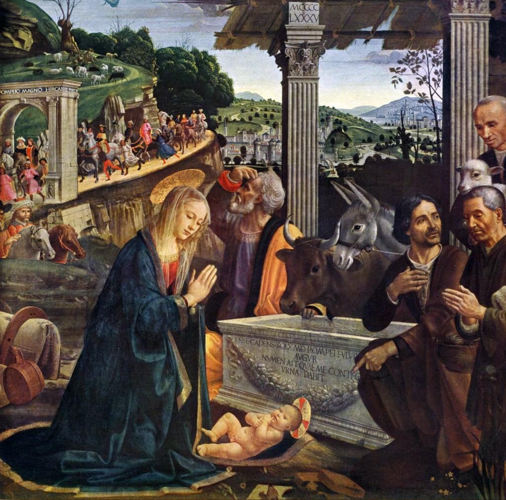 上图:意大利文艺复兴画家多米尼哥·基兰达奥(Domenico Ghirlandaio)于1485年创作的油画《牧羊人的崇拜 Adoration of the Shepherds》,画中围绕着马槽的有牛、驴和羊。圣经中并没有提到主耶稣出生时有动物在场,但有关耶稣诞生的传统名画中通常都画有牛和驴,暗示先知以赛亚所说的:「牛认识主人,驴认识主人的槽,以色列却不认识;我的民却不留意」(赛一3)。神的儿子降生在犹太地、万王之王降生在人间,连牛和驴都知道发生了大事,神的百姓却茫然无知、世人也不以为然。