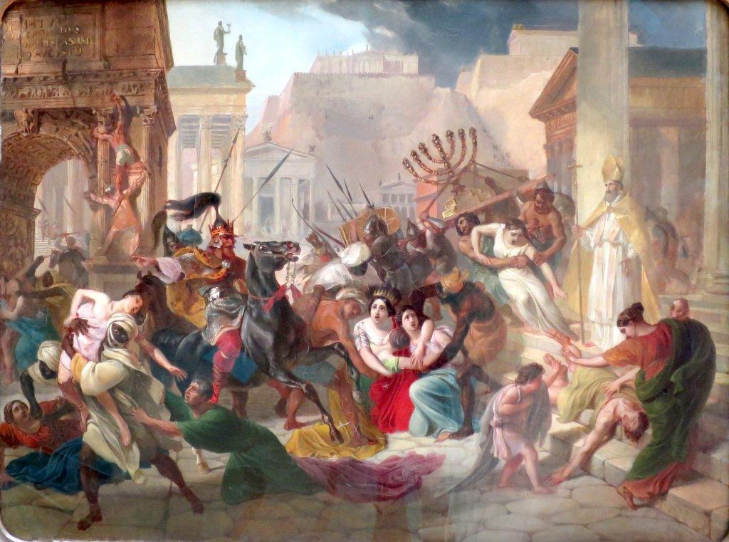 上图:油画《455年盖萨里克洗劫罗马》(Genseric sacking rome,Karl Bryullov绘于1833-1836年)。西哥特人410年洗劫罗马城后不久,向西进入高卢南部,逐走已经占领西班牙的蛮族汪达尔人。汪达尔人渡海进入北非,于439年攻克迦太基城,建立了汪达尔王国。攻占北非的汪达尔人切断了罗马的一个重要的粮食来源,他们在地中海的海盗行为也破坏了罗马帝国本身本已十分脆弱的商业网。主后455年,汪达尔国王盖萨里克应西罗马帝国皇帝瓦伦提尼安三世的遗孀尤多克西亚的求助,率领大批舰队渡海北上,攻陷罗马、推翻了篡位者佩特罗尼乌斯·马克西穆斯,将尤多克西亚和她的两个女儿尤多西亚、普拉西迪亚带回迦太基软禁。罗马城被劫掠一空,劫后的罗马仅存居民7000人。