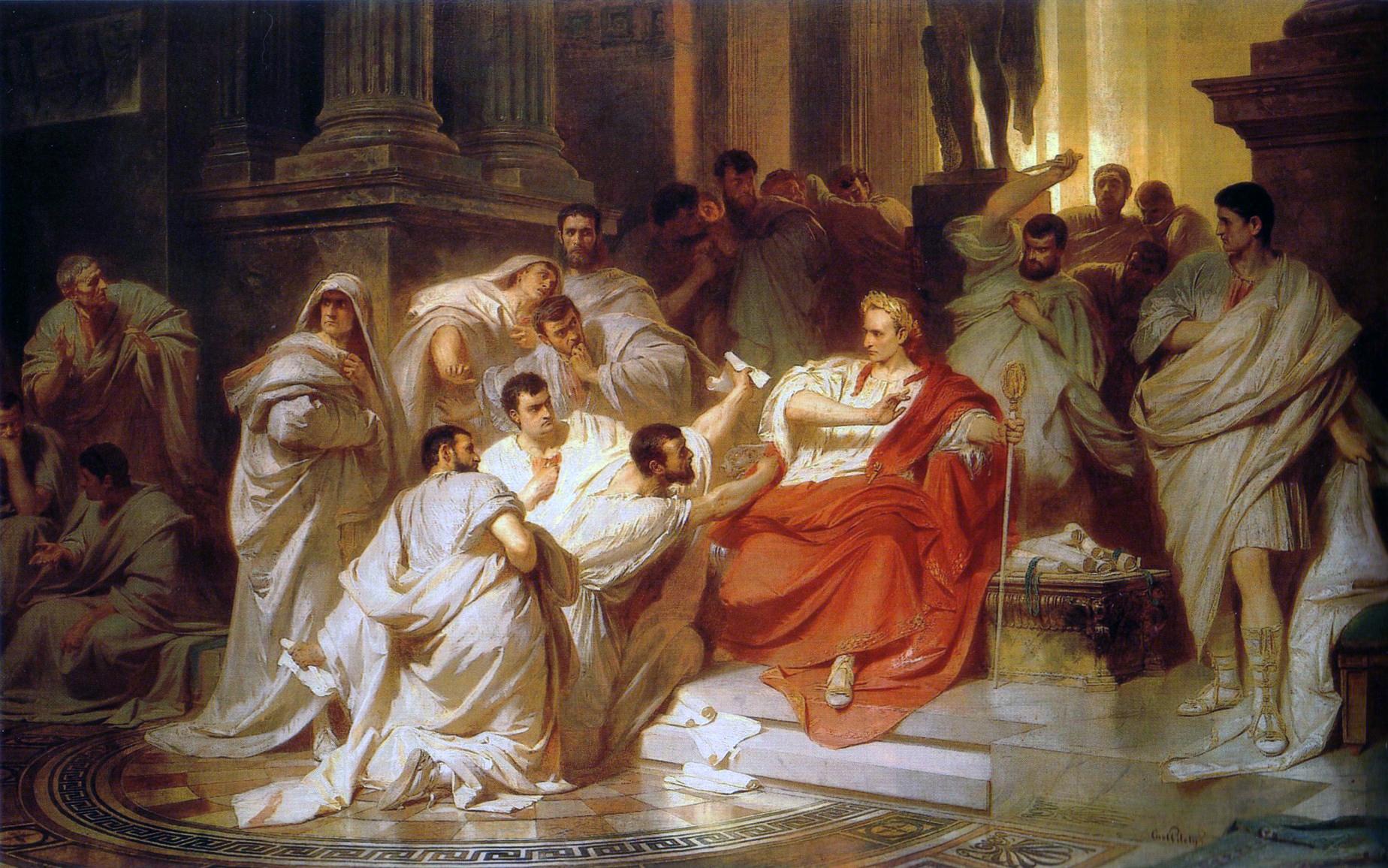上图:油画《谋杀凯撒》(Karl von Piloty,1865),描绘了主前44年3月15日,罗马元老院成员谋杀凯撒大帝(Gaius Julius Caesar)。当凯撒最宠爱的助手、挚友和养子布鲁图斯拿着匕首扑向他的时候,凯撒惊呼:「Et tu, Brute?还有你吗?布鲁图斯?」(莎士比亚《凯撒大帝》)刺杀者们所用的武器就是刀。凯撒身中23刀,死后导致罗马内战,共和国体制崩溃,其养子屋大维开创了罗马帝国。雅典的民主失败了,罗马的共和失败了,专制独裁最后也没能阻挡罗马的灭亡。人类历史上所有的政治制度,包括欧美国家精心设计的现代民主宪政,最终都会因着人的败坏和无法调和的内部矛盾而崩溃。