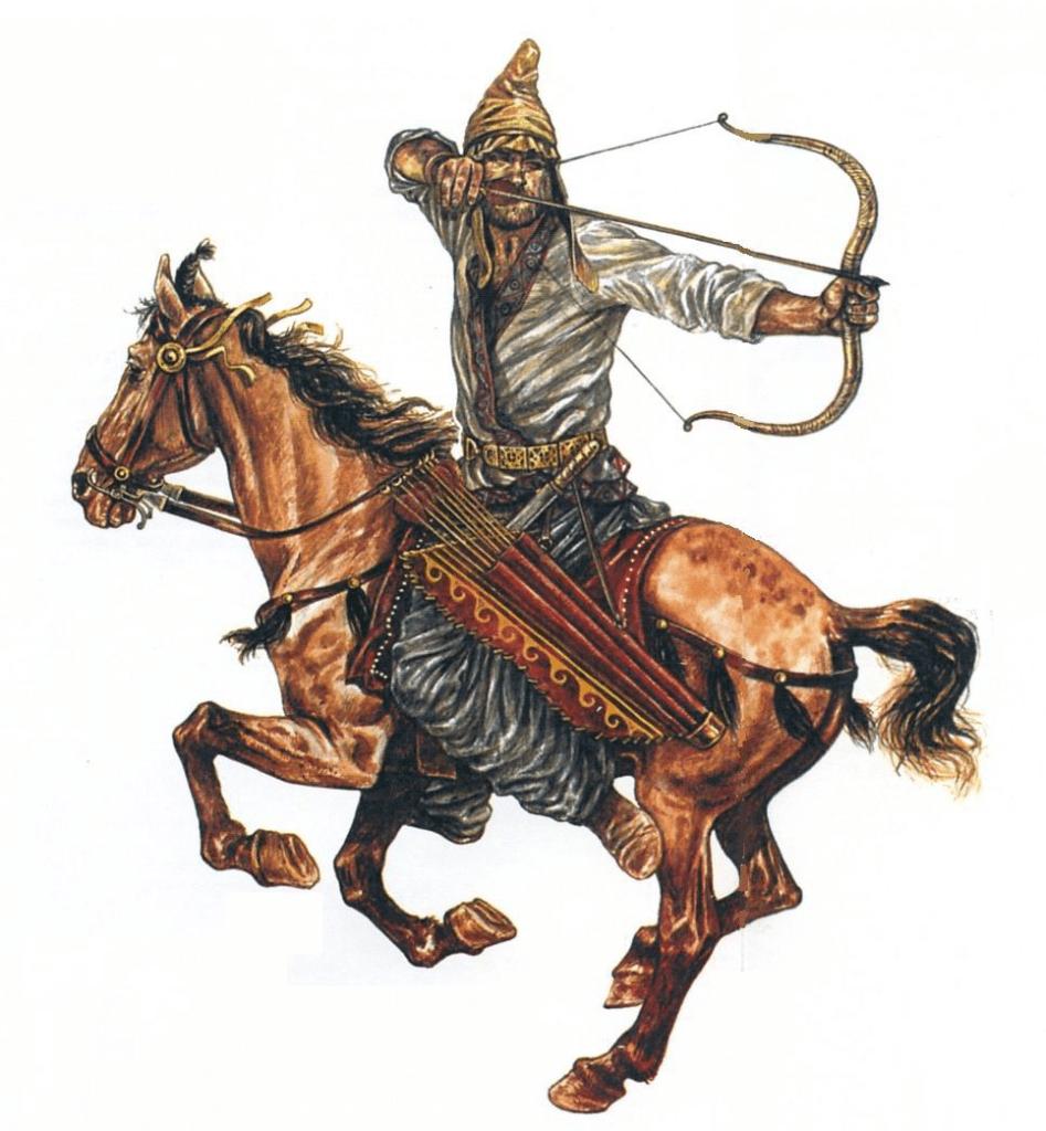 上图:帕提亚回马箭(Parthian Shot),又称安息回马箭,是一种由帕提亚人所发扬光大的弓骑兵战术。帕提亚人善于骑射,弓骑兵是安息帝国军中的主力。当年安息弓骑兵作战时广泛采用一种战术:于战场上佯作(或实际)撤退,引诱敌人(通常为骑兵)追赶。当敌人追至近身时,突然转身向身后的敌人发箭。由于距离较近,无须高超射术即可重创敌方。帕提亚人利用这一战术,在主前53年的卡莱战役(Battle of Carrhae)中战胜了罗马帝国。由于当时还没有发明马镫,骑手完全倚靠腿部的压力来引导马,所以这种战术需要精湛的马术技巧,后来主要在游牧民族的弓骑兵中普及。