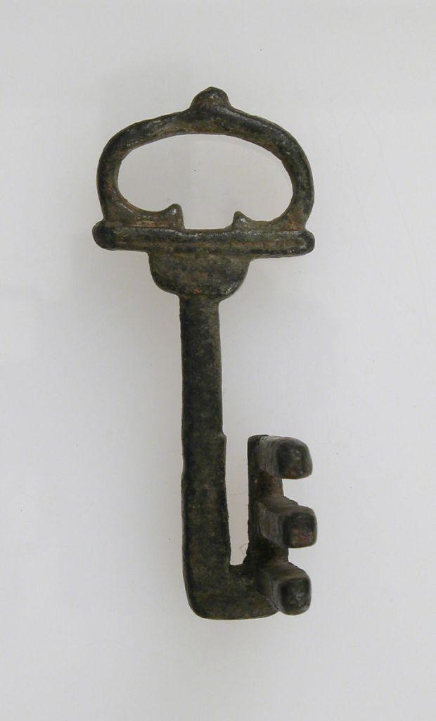 上图:第1-3世纪古罗马的铜钥匙,7x2.9x3.9厘米。现藏于大都会博物馆。