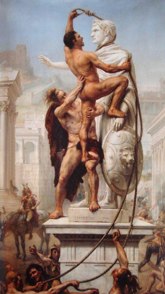 上图:油画《410年洗劫罗马》(The Sack of Rome by the Barbarians in 410, Joseph-Noël Sylvestre绘于1890年)。在罗马帝国北方边境以外的蛮族是对罗马帝国的威胁。在4世纪末之前,罗马人总能够成功将他们驱逐,或将他们同化到自己的社会结构中。罗马帝国采取以蛮制蛮的政策,吸收蛮族人入伍,导致罗马军队逐渐蛮族化,把大批蛮族部落居民以军事移民方式迁到罗马边境,又为后来蛮族大规模入侵开方便之门。4世纪后期,匈人从里海附近西迁,推动日耳曼部落大迁徙浪潮。西哥特人为躲避匈人而进入帝国东部避难,因为不甘罗马官员的欺压,发动暴乱,在阿德里安堡战役中战胜罗马军队,皇帝瓦伦斯战死。继位的狄奥多西一世被迫与西哥特人订立和约,将色雷斯和马其顿的土地划分他们定居,供给粮食。4世纪末,西哥特人在阿拉里克率领下进军意大利,沿途许多奴隶、隶农和农民加入西哥特人的队伍。罗马于406年从莱茵河调军回援,却引起更大规模的其他日耳曼部落的入境。主后408年,阿拉里克包围罗马,勒索大量钱财。主后410年,阿拉里克再次围困罗马,城内起义的奴隶打开城门,放进西哥特人,被誉为永恒之城的罗马城在奴隶和蛮族的内外夹攻下首次陷落。西哥特人入城后大肆劫掠。