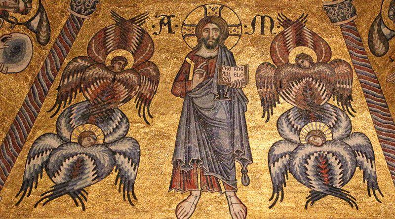 上图:佛罗伦萨圣乔瓦尼教堂(Baptistry of San Giovanni)圆顶上的马赛克壁画(1225-1310年),基督周围环绕着天使。蓝色的是基路伯,红色的是撒弗拉。